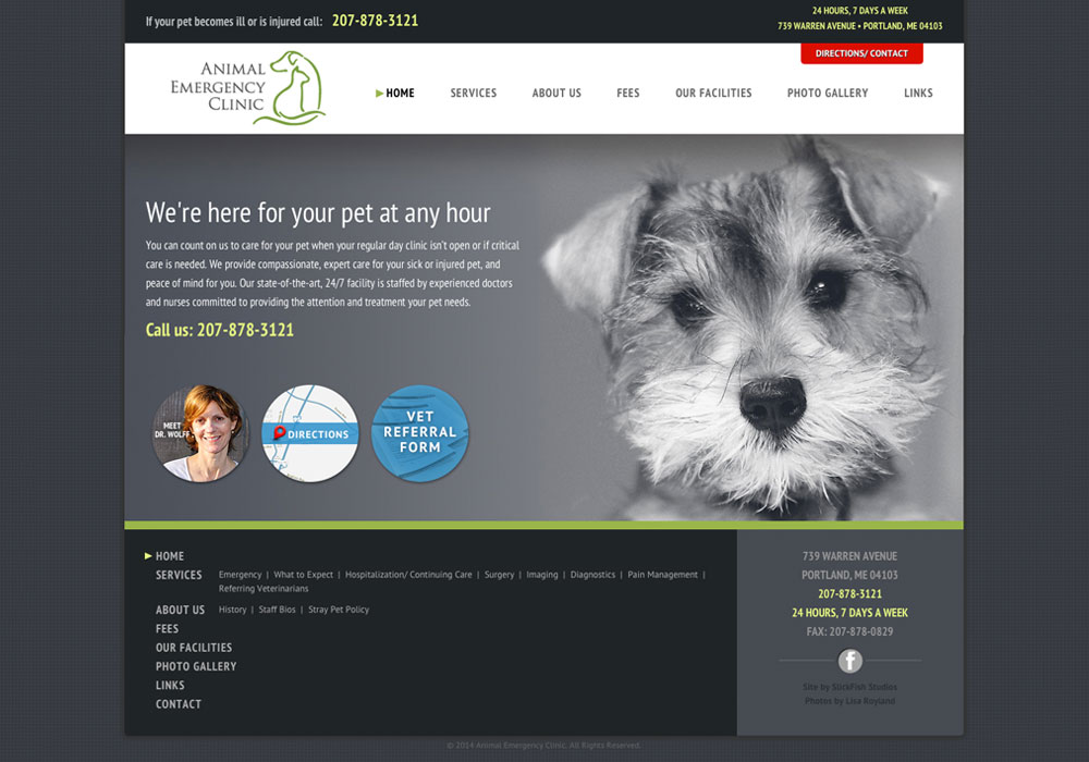 Animal Emergency Clinic: A Maine Website Design by SlickFish Studios