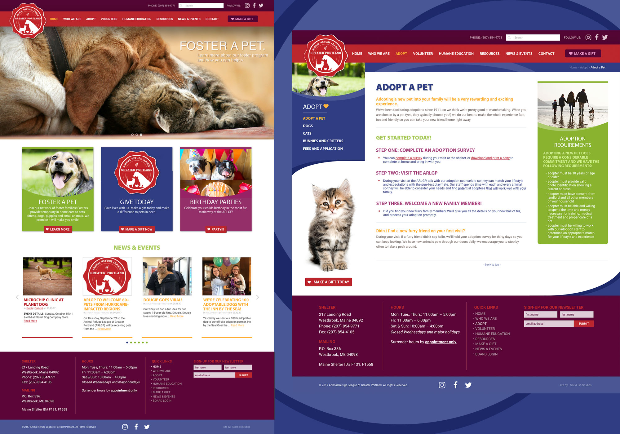 A composite of another website homepage for the ARLGP designed by Maine website design company, SlickFish Studios