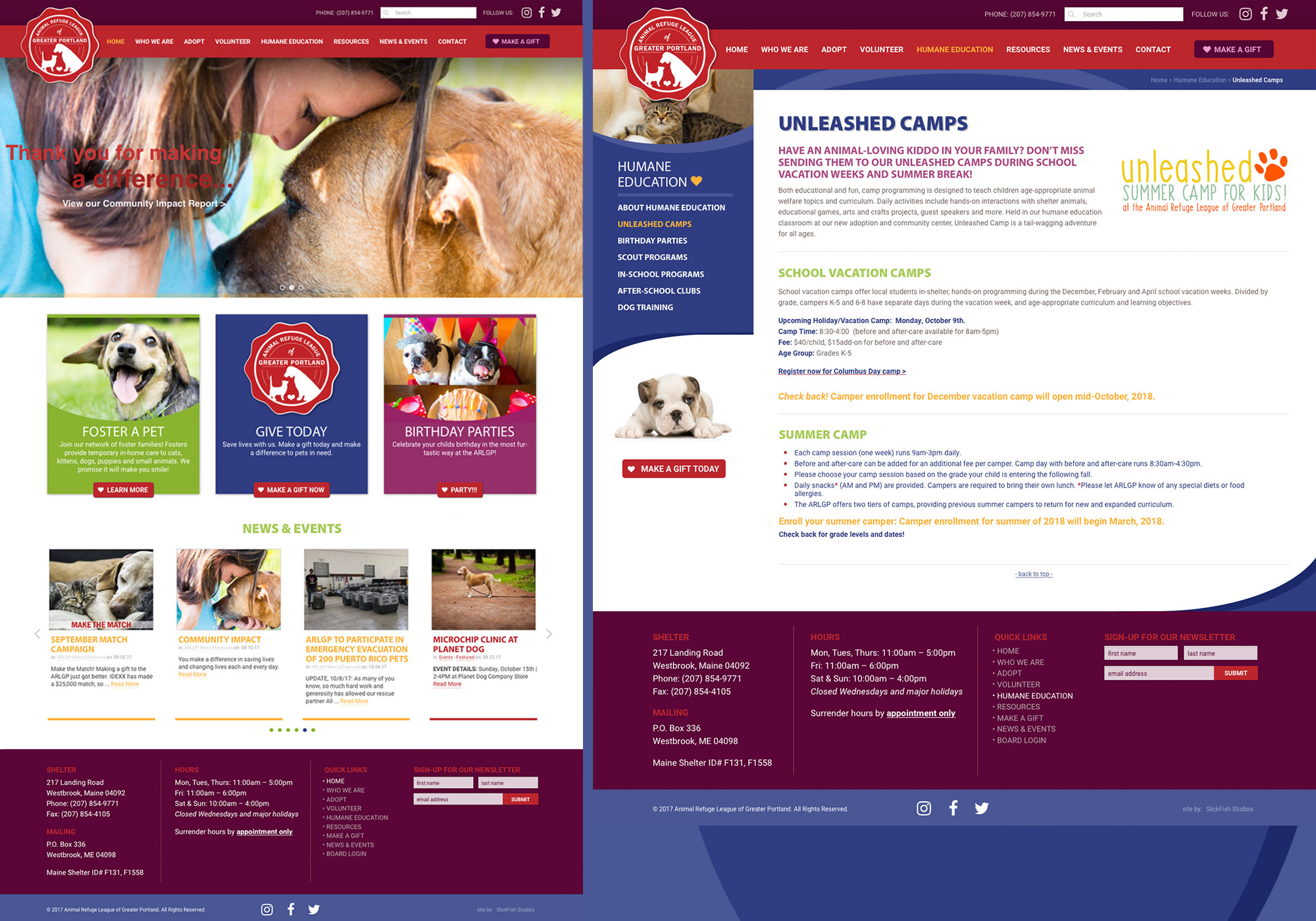 A composite of alternate homepage for the Animal Refuge League of Greater Portland website designed by SlickFish Studios and unleashed camps.