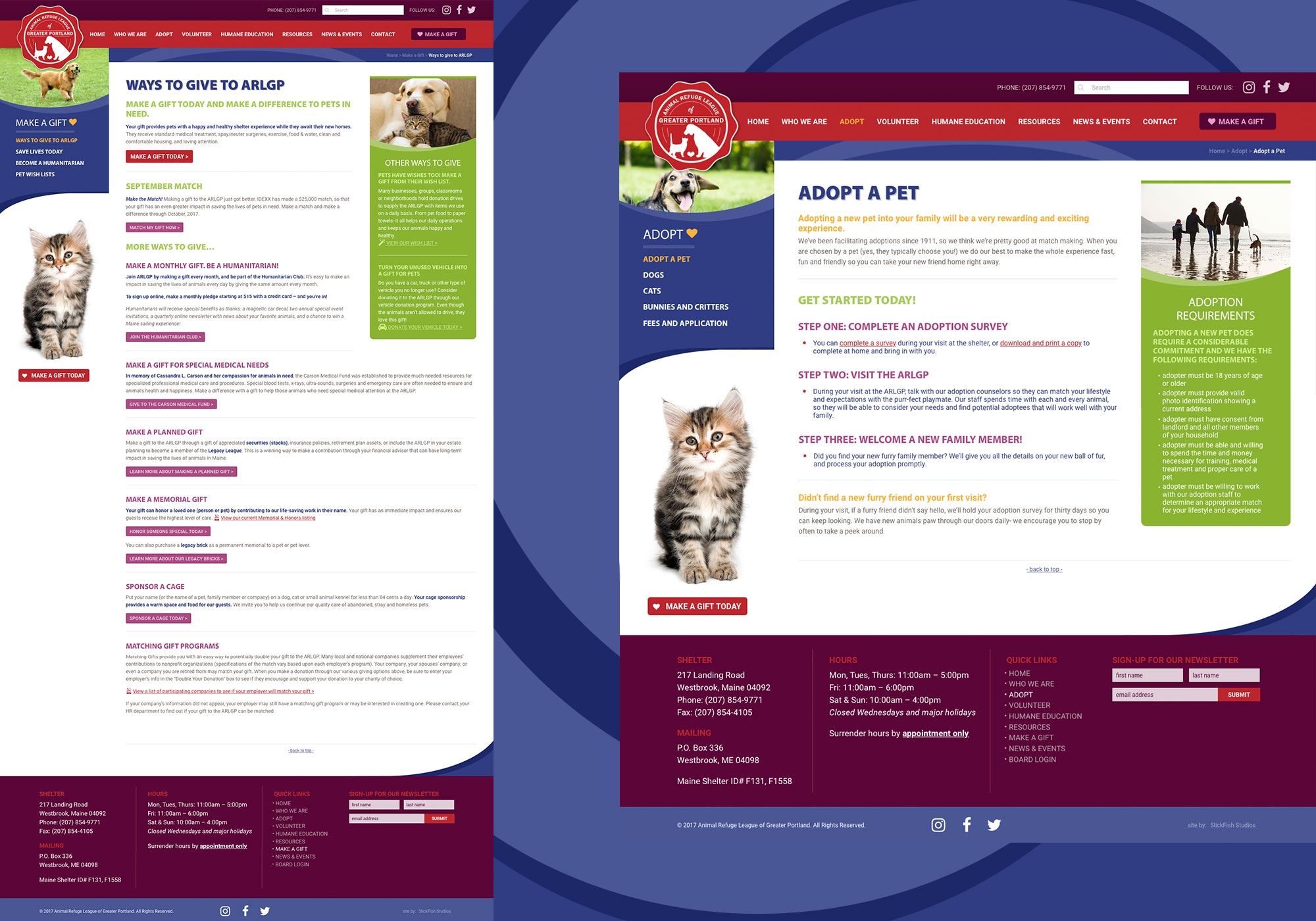 A custom wordpress website design for the Animal Refuge League of Greater Portland in Westbrook, Maine by Portland, Maine by Portland, Maine website design company, SlickFish Studios.