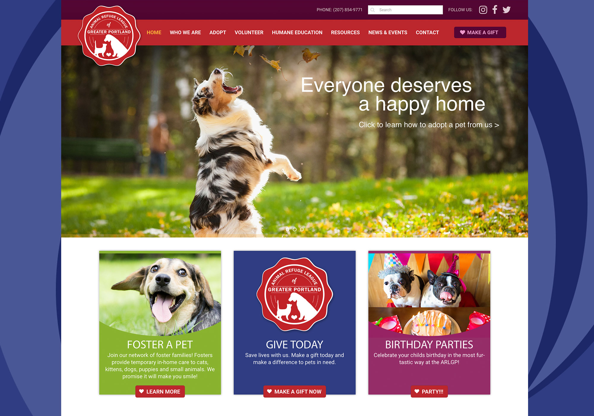 A closeup of the homepage for Animal Refuge League of Greater Portland designed by SlickFish Studios in Portland, Maine.