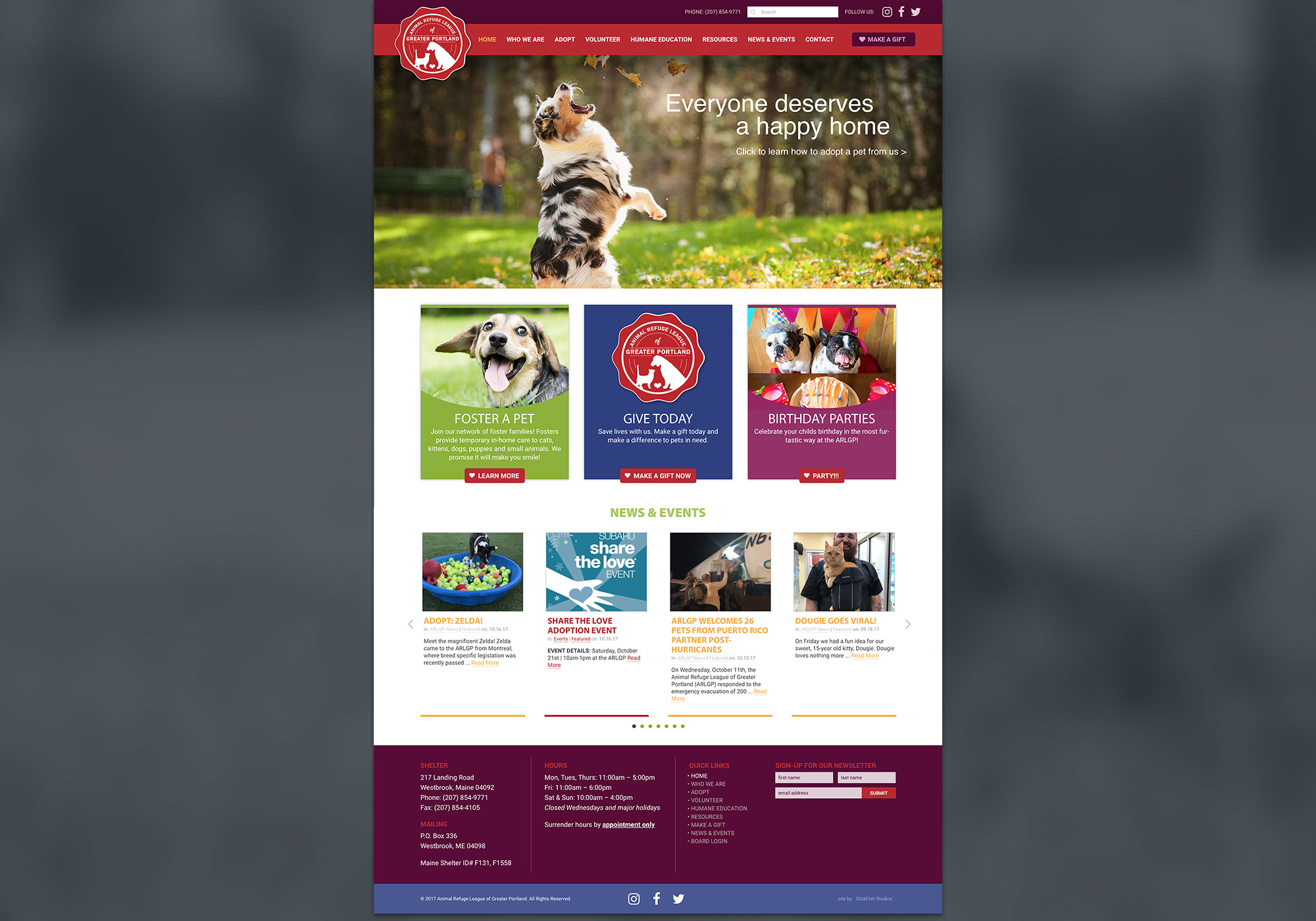 A screenshot of the SlickFish Studios designed and developed website for Animal Refuge League of Greater Portland in Maine