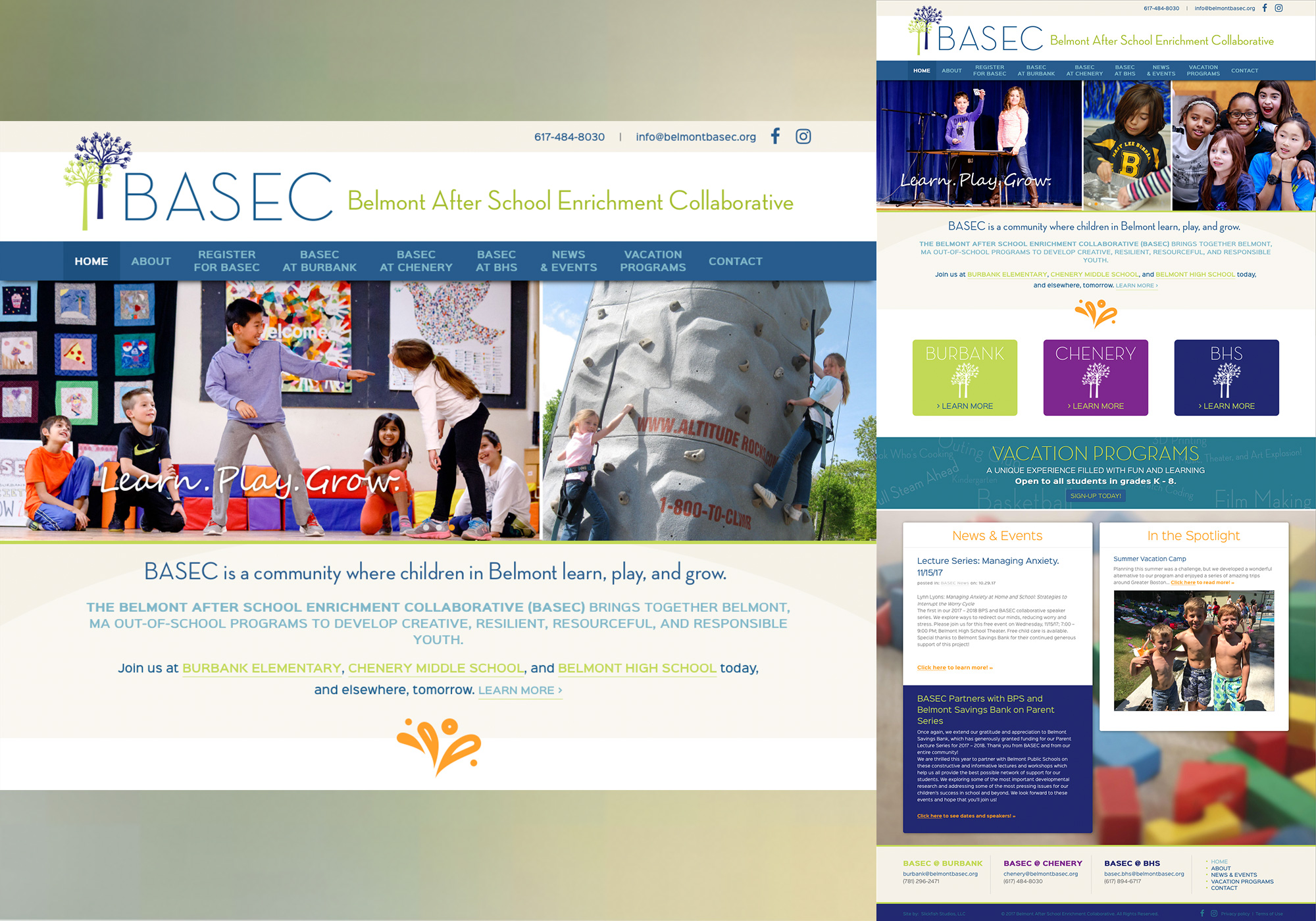 A composite of the homepage for Belmont BASEC designed by SlickFish Studios in Portland, Maine.
