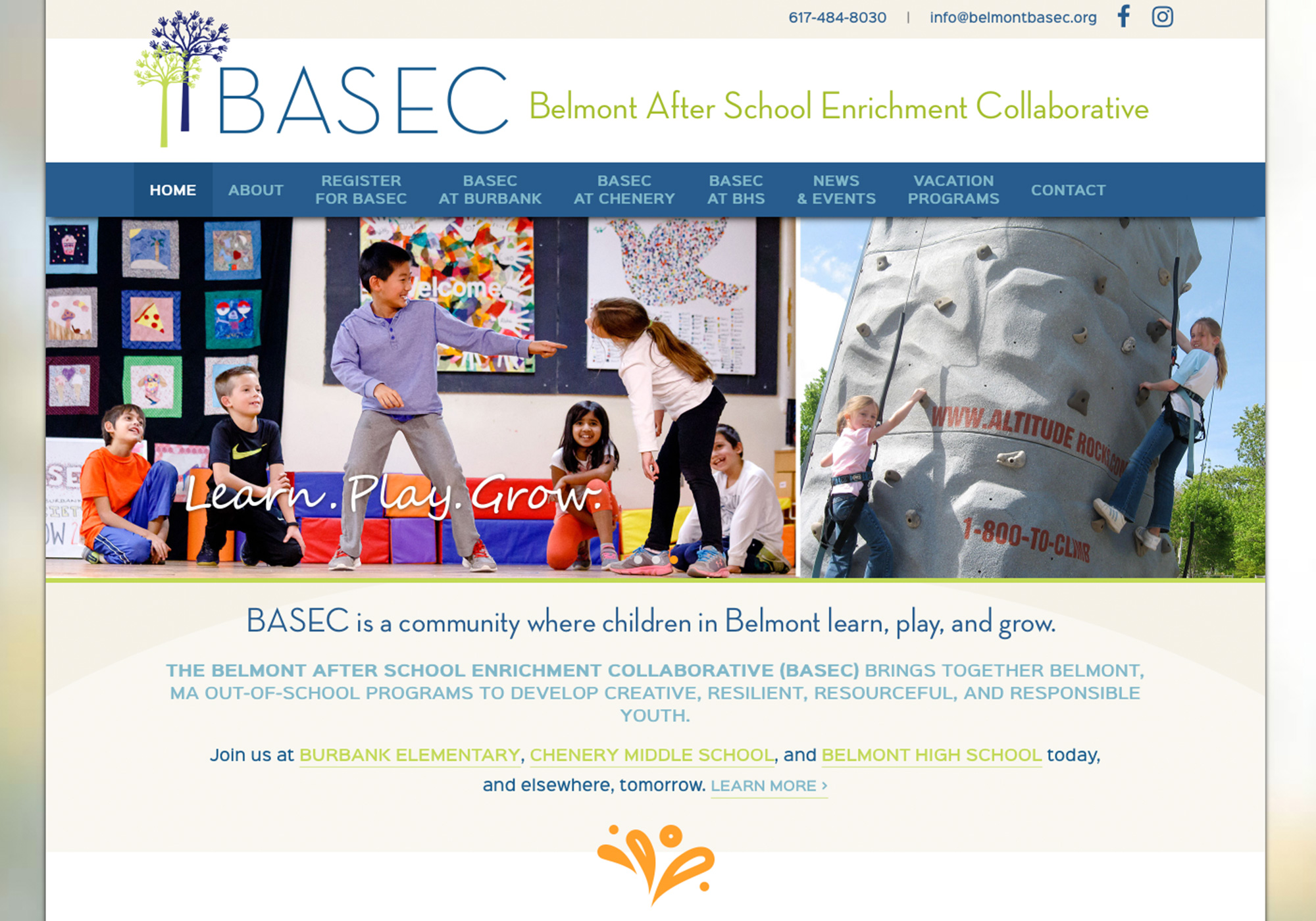 A screenshot of the SlickFish Studios designed and developed website for the Belmont After School Enrichment Collaborative.