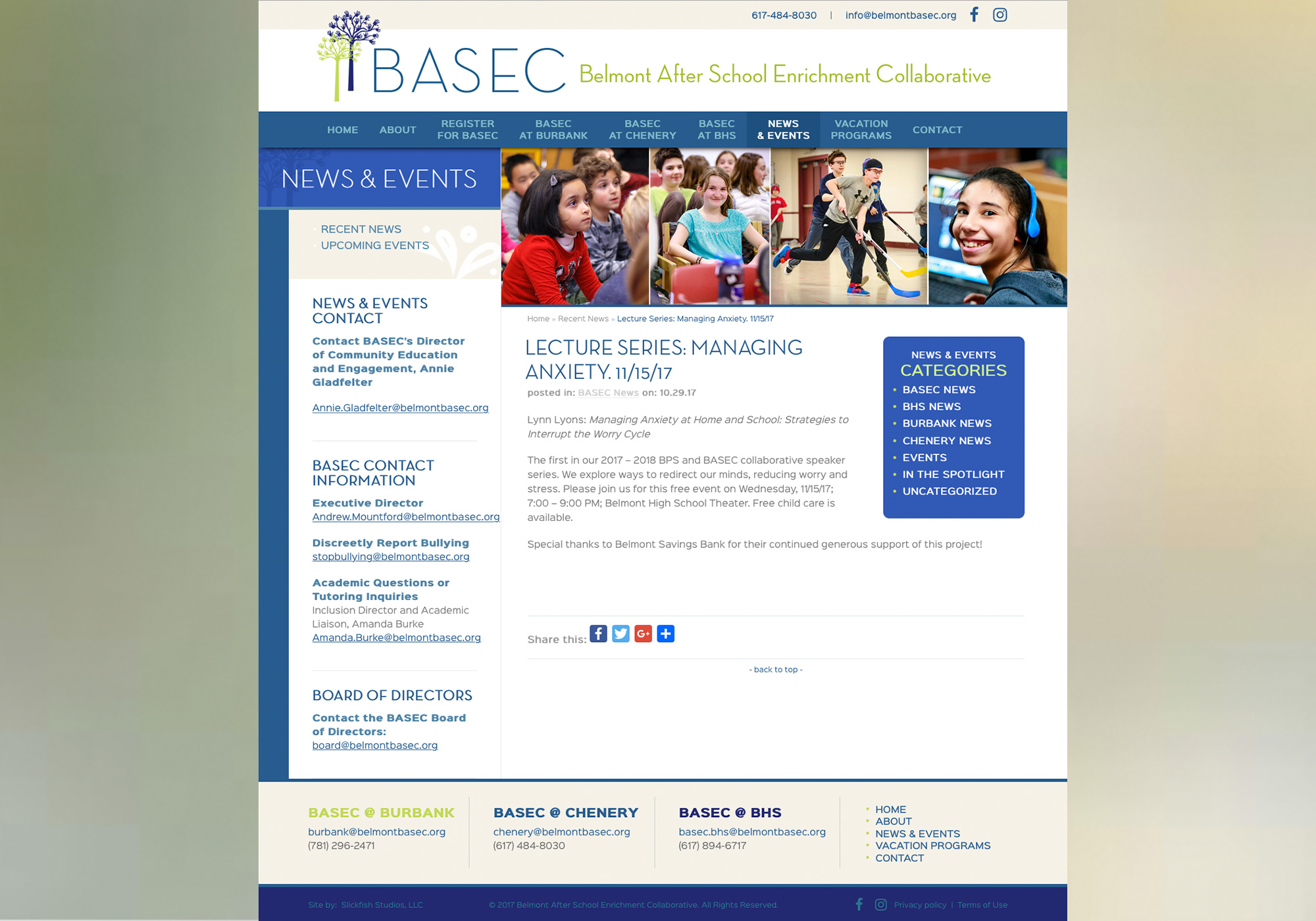 There's a lot going on at Belmont BASEC in Massachusetts! Find out what on their News & Events blog programmed by Maine design company, SlickFish Studios.