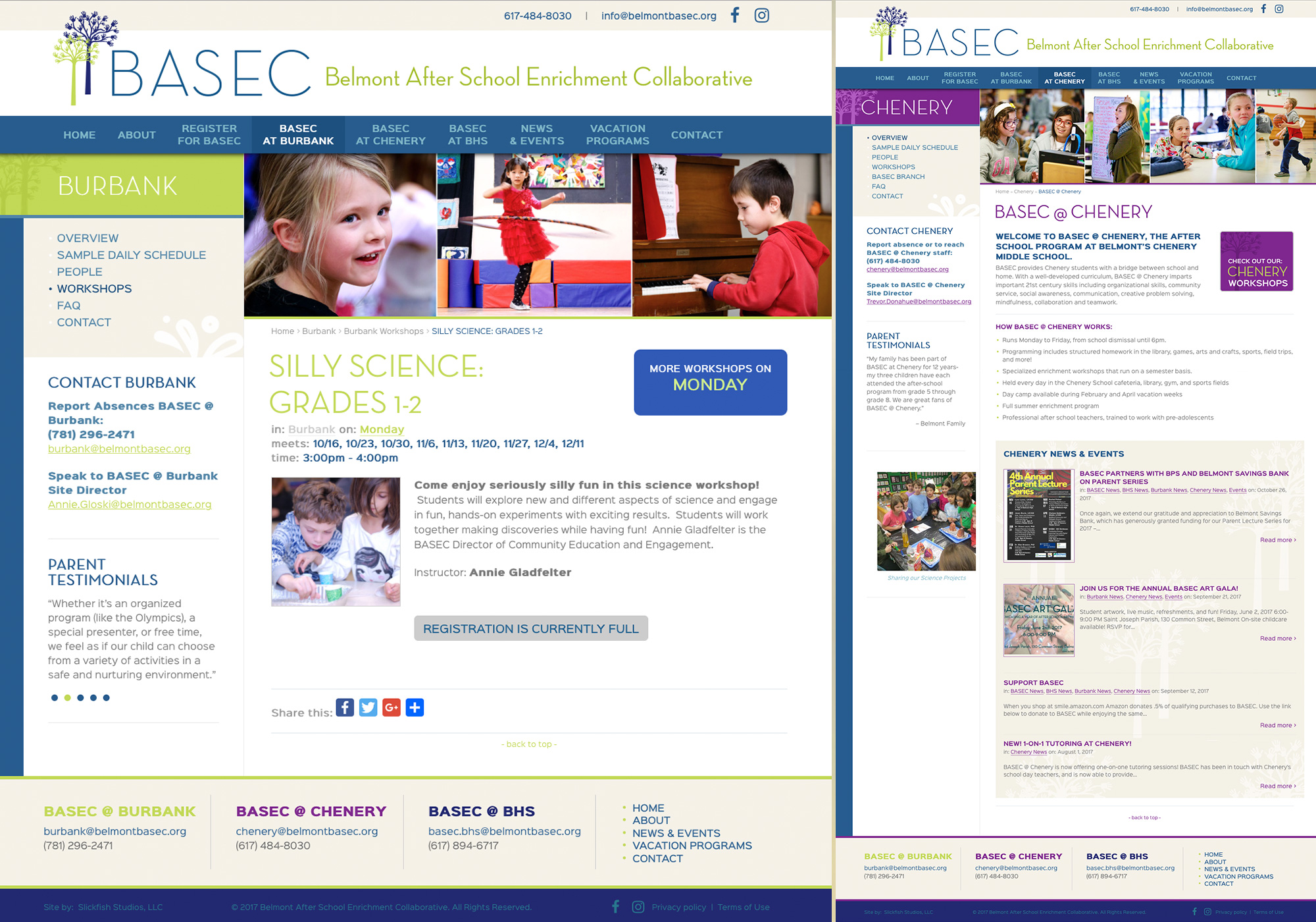 Wordpress Blog design for BASEC in Belmont Massachusetts showing the Chenery, MA location. Website design by Portland, Maine website design company, SlickFish Studios.