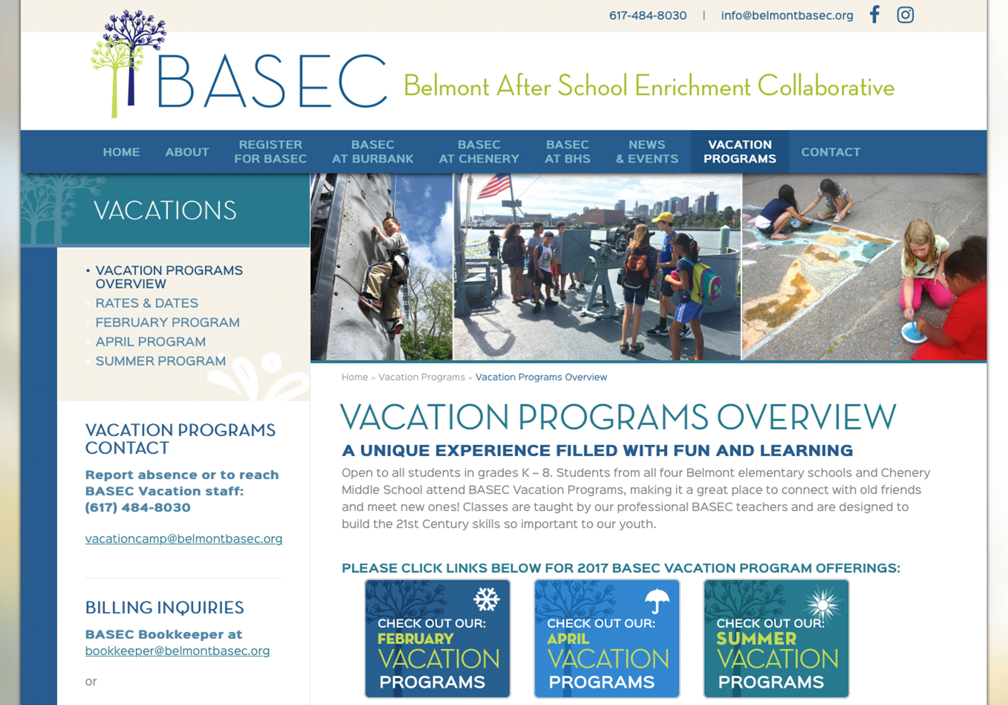 Vacation Programs has a specific look in this custom wordpress website design for the Belmont After School Enrichment Collaborative by Portland, Maine website design company, SlickFish Studios.