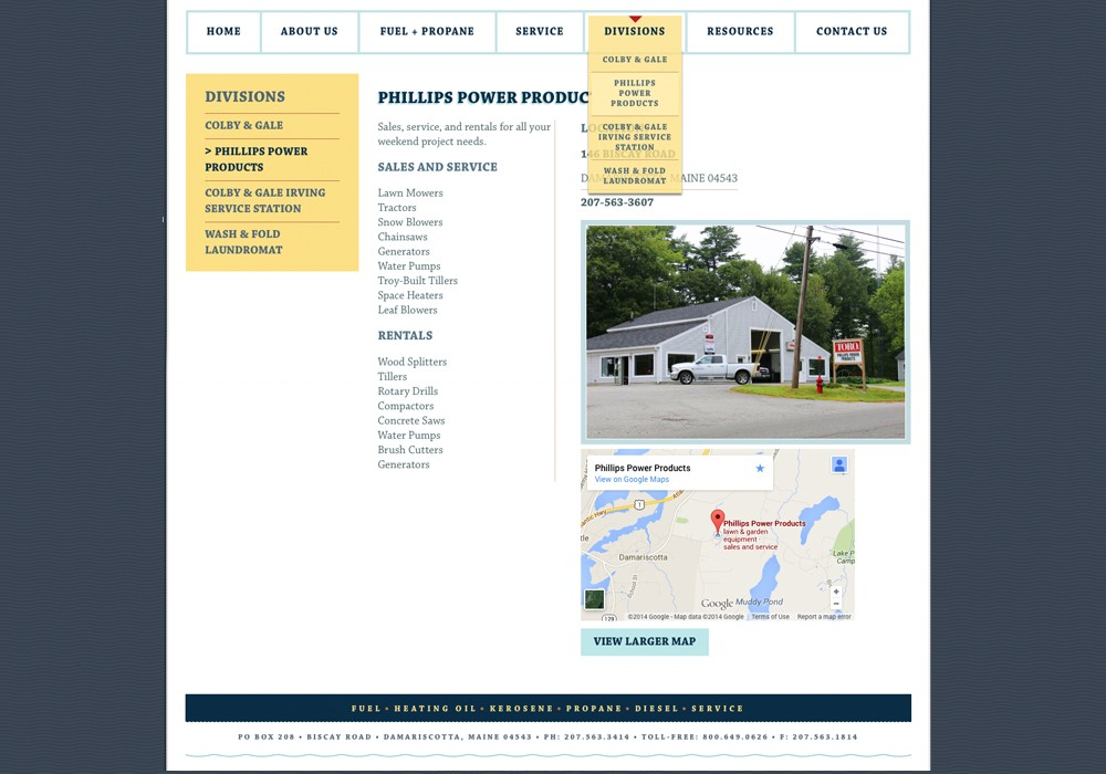 A screenshot of this family run wild company in Maine website created by SlickFish Studios
