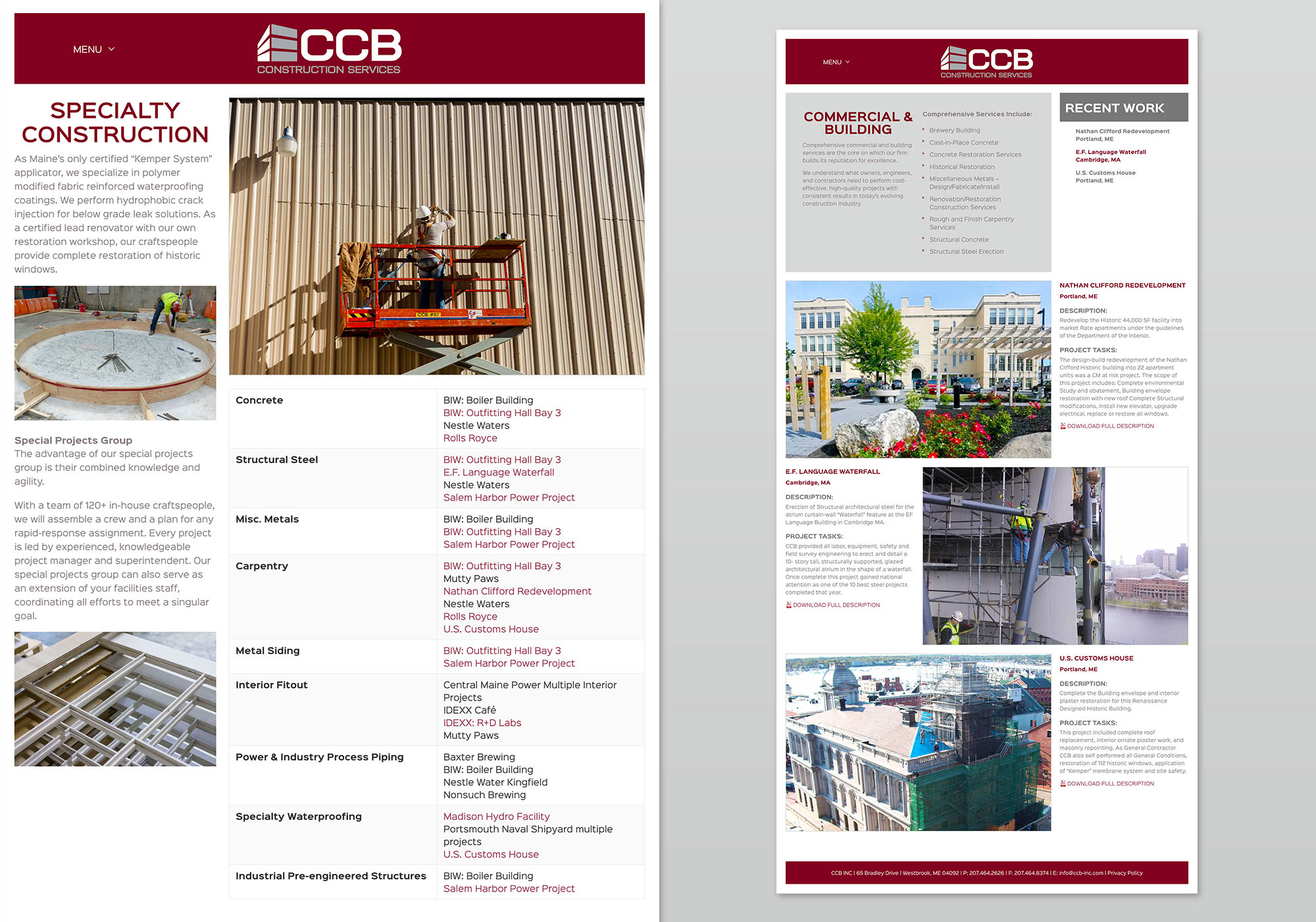 Custom WordPress website design for CCB Inc's website, showing the complex layouts for service, Specialty Construction, and Commercial & Building templates. Website design by Portland, Maine website design company, SlickFish Studios.