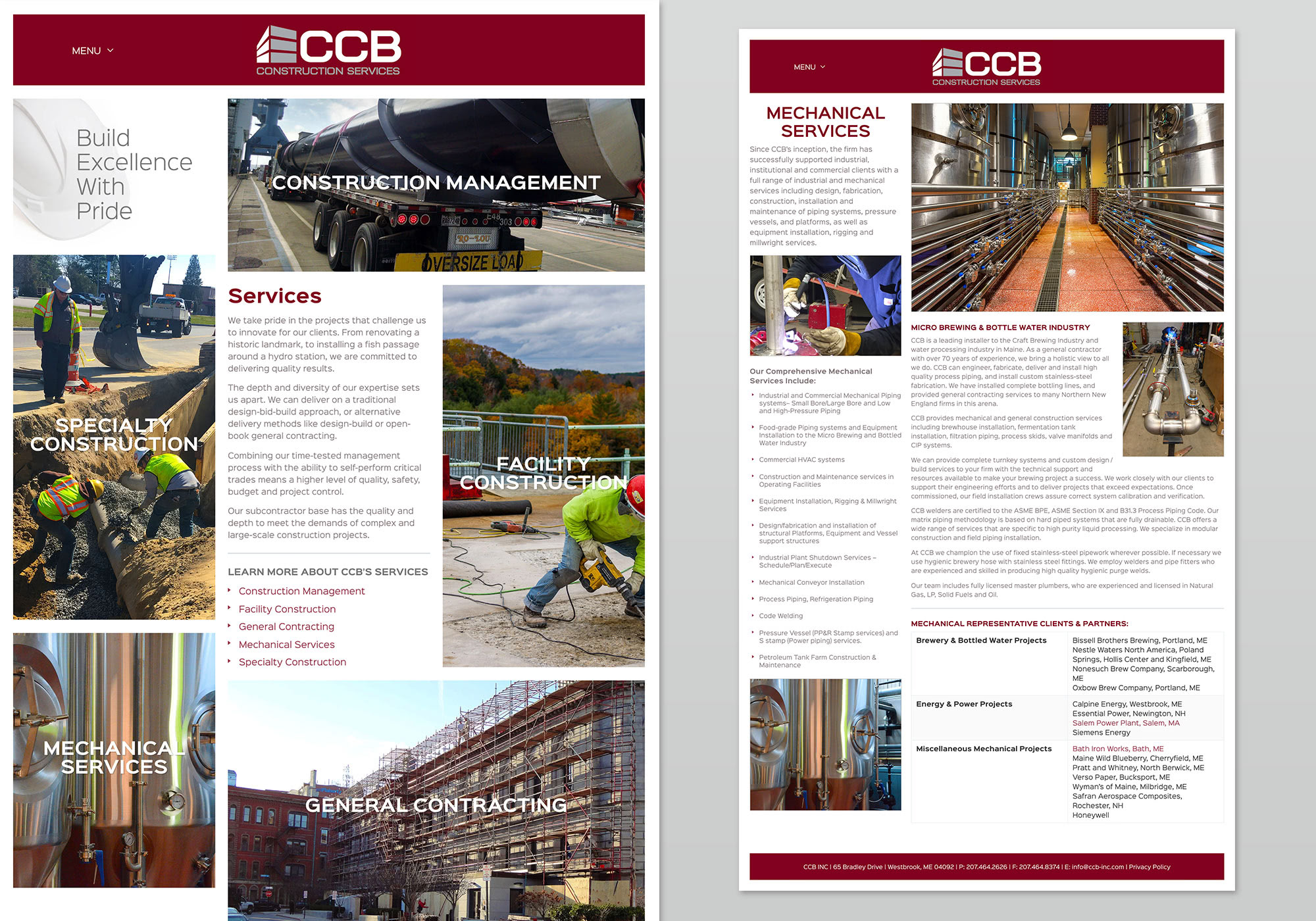 A screenshots from the CCB Construction Services Inc. website showing some of the Service pages we built. Designed and developed by Maine website design company, SlickFish Studios
