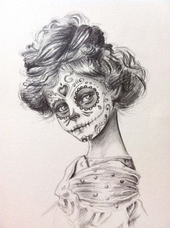 Skull Girl Illustration by Etsy Artist Julie Filipenko