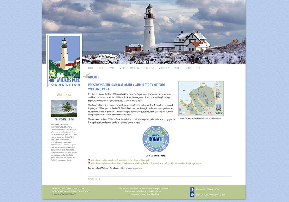 Fort Williams Park Foundation: A Maine Website Design by SlickFish Studios