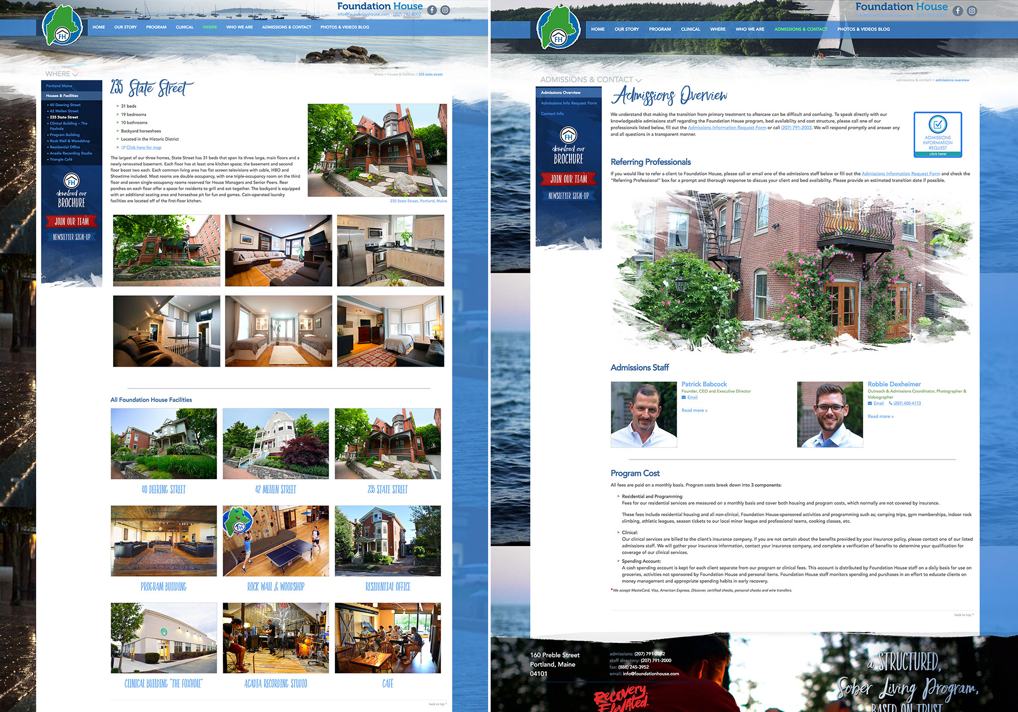 SlickFish designed website for Foundation House. A screenshot of the Facilities and Admissions pages.
