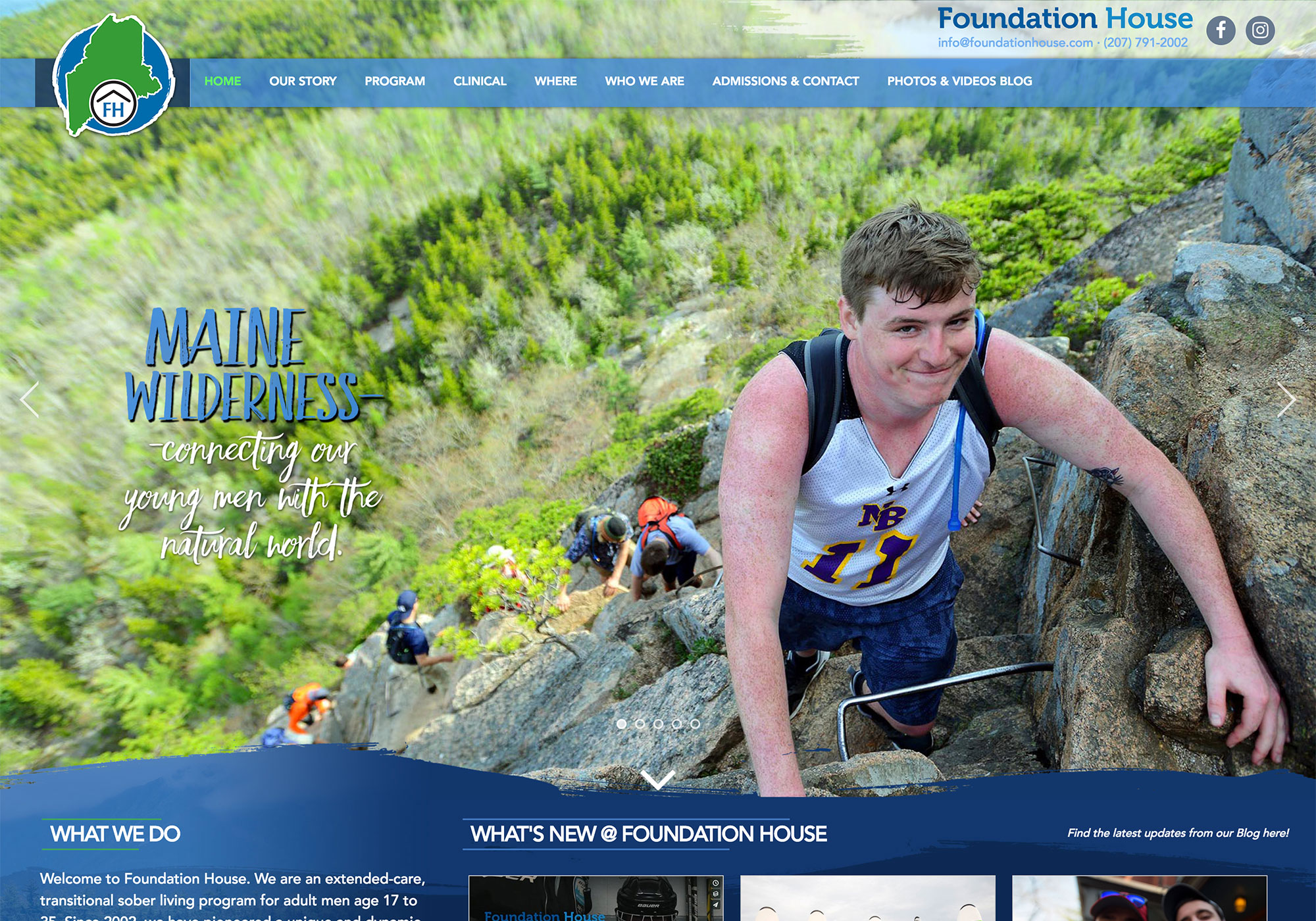 A screenshot of the SlickFish Studios designed and developed website for Foundation House in Portland, Maine