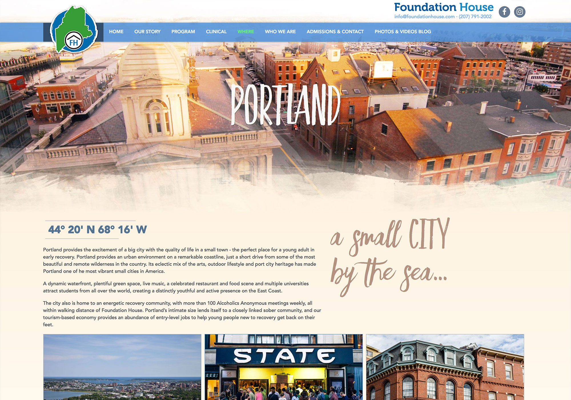 Maine web design company, SlickFish Studios, designed and developed the new Foundation House - a screenshot of part of the Portland, Maine page.