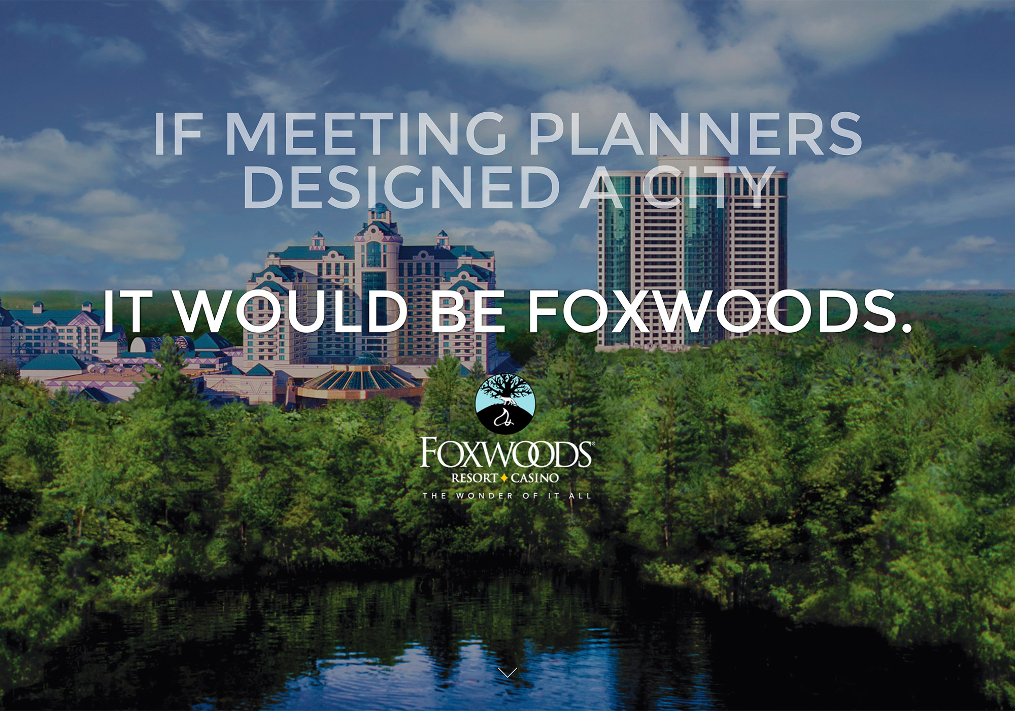 A screenshot crop of the SlickFish Studios designed top of homepage on the Foxwoods Resort and Casino Meetings and Events Website website.