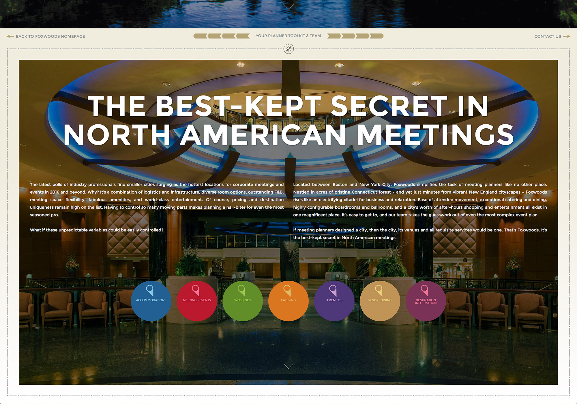 A screenshot from the homepage of the Foxwoods Resort and Casino Meetings website. This is the second tier, interactive page by SlickFish Studios.