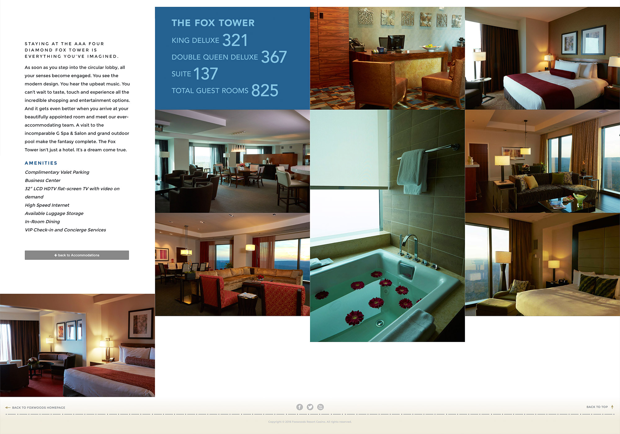 An inside page layout, mosaic layout, developed on the Foxwoods website by SlickFish Studios, from Portland, Maine.