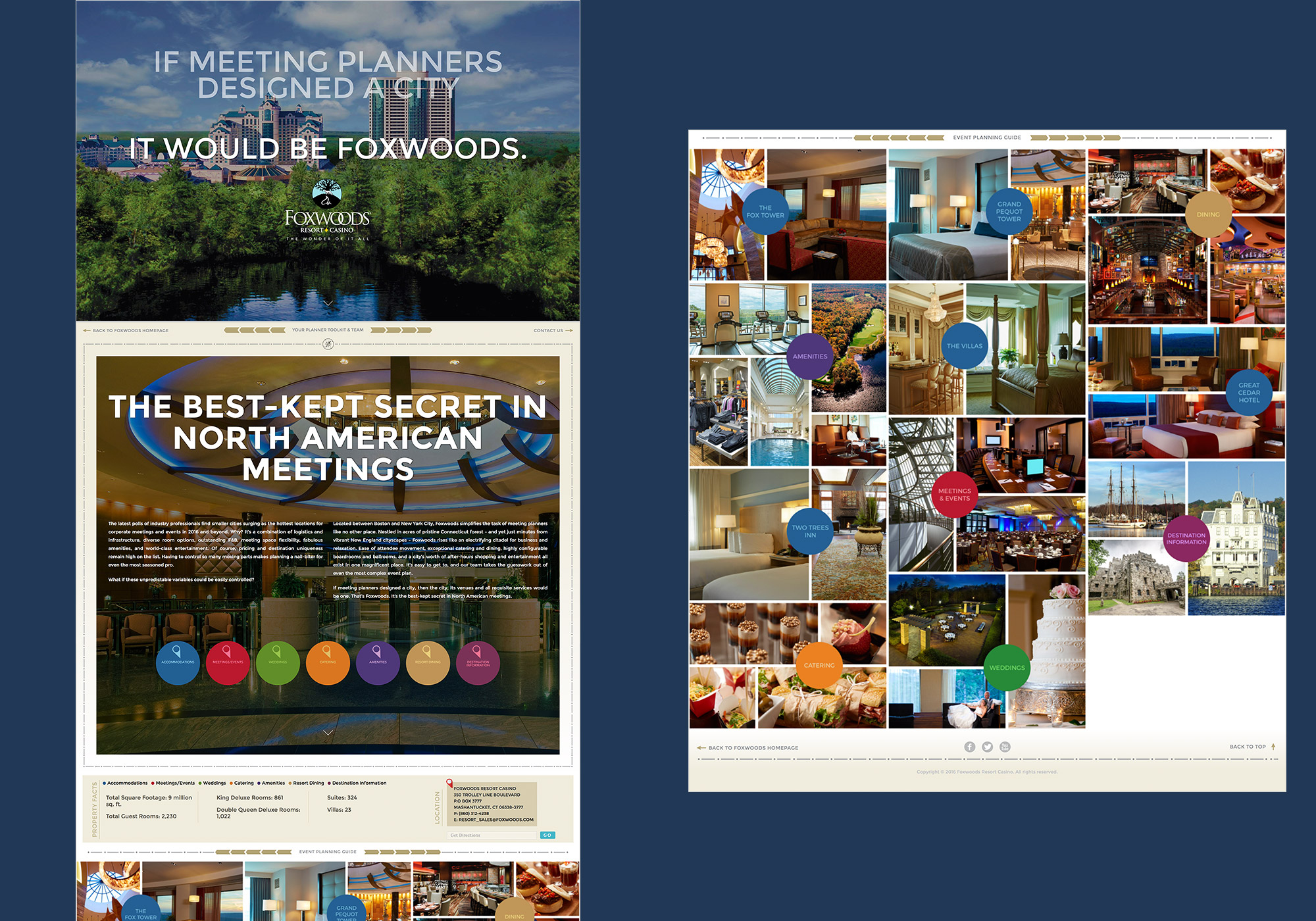 A split composite image of the fluid scrolling, homepage of the Meetings and Events site for Foxwoods and Casino developed by SlickFish Studios in Maine.