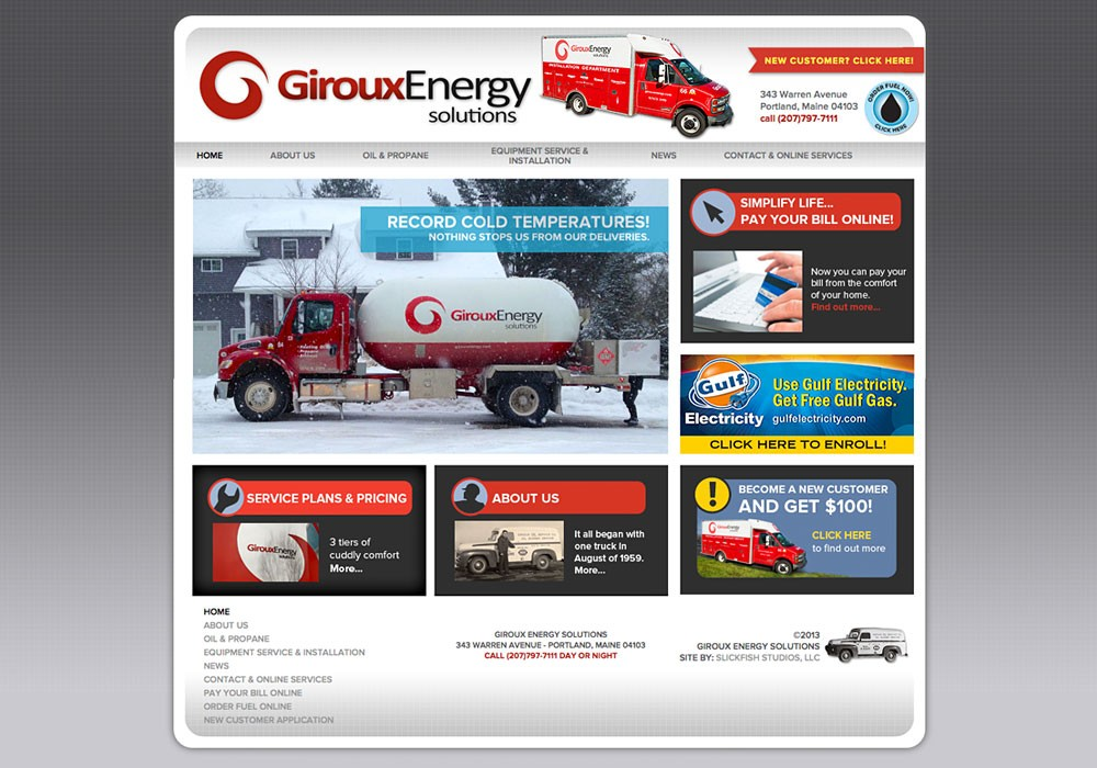 Giroux Energy Solutions: A Maine Website Design by SlickFish Studios