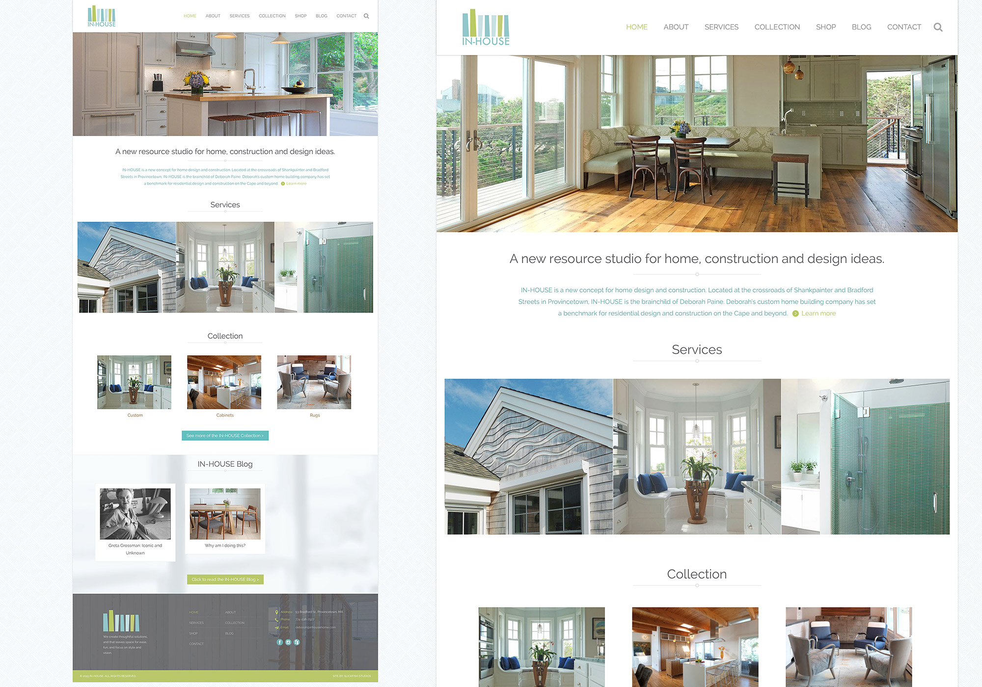 A closer look at the details of the homepage on In-House new website design by Portland company SlickFish Studios.