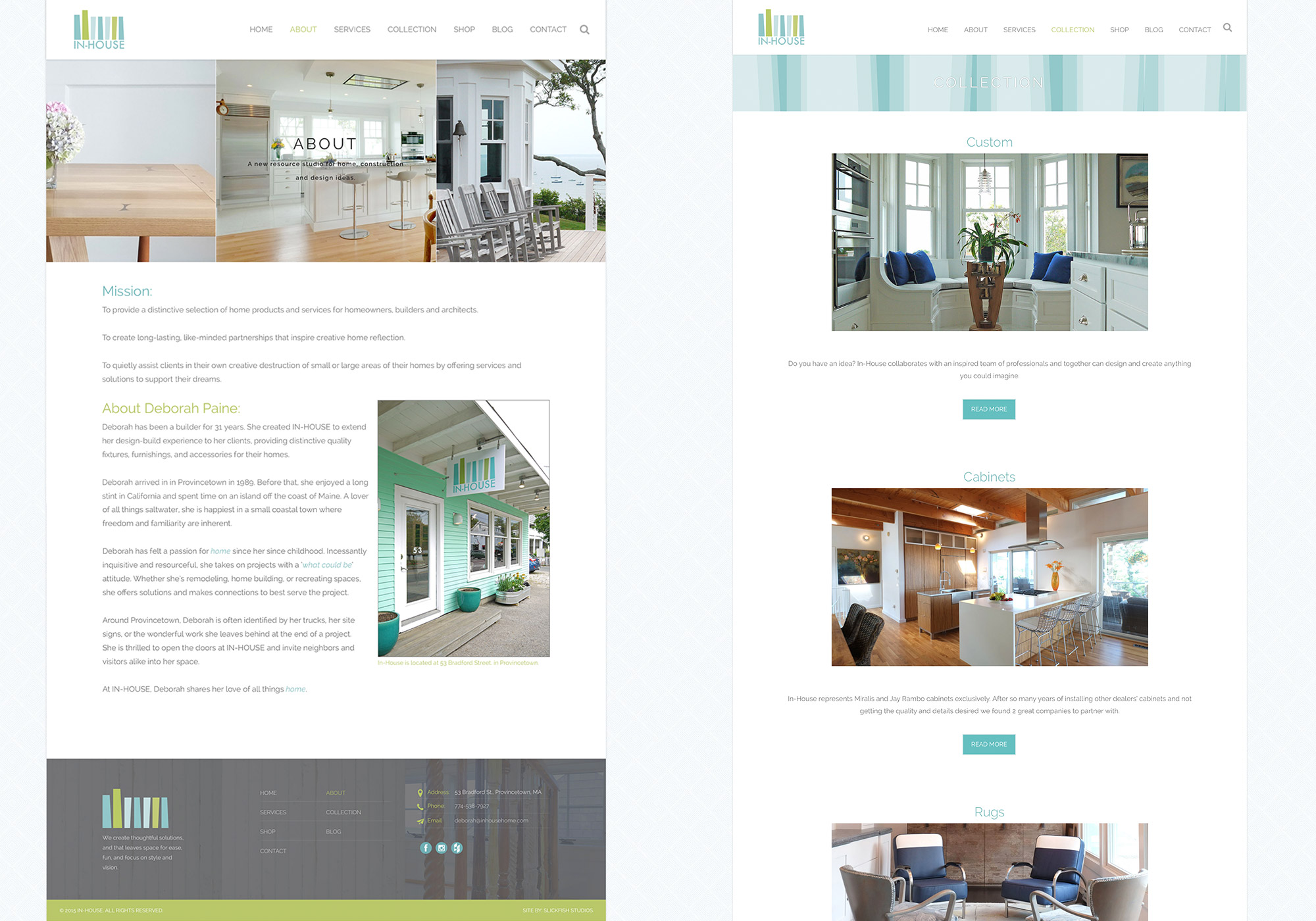 A screenshot of the About In-House page and Collections landing web page developed by Portland company SlickFish Studios.