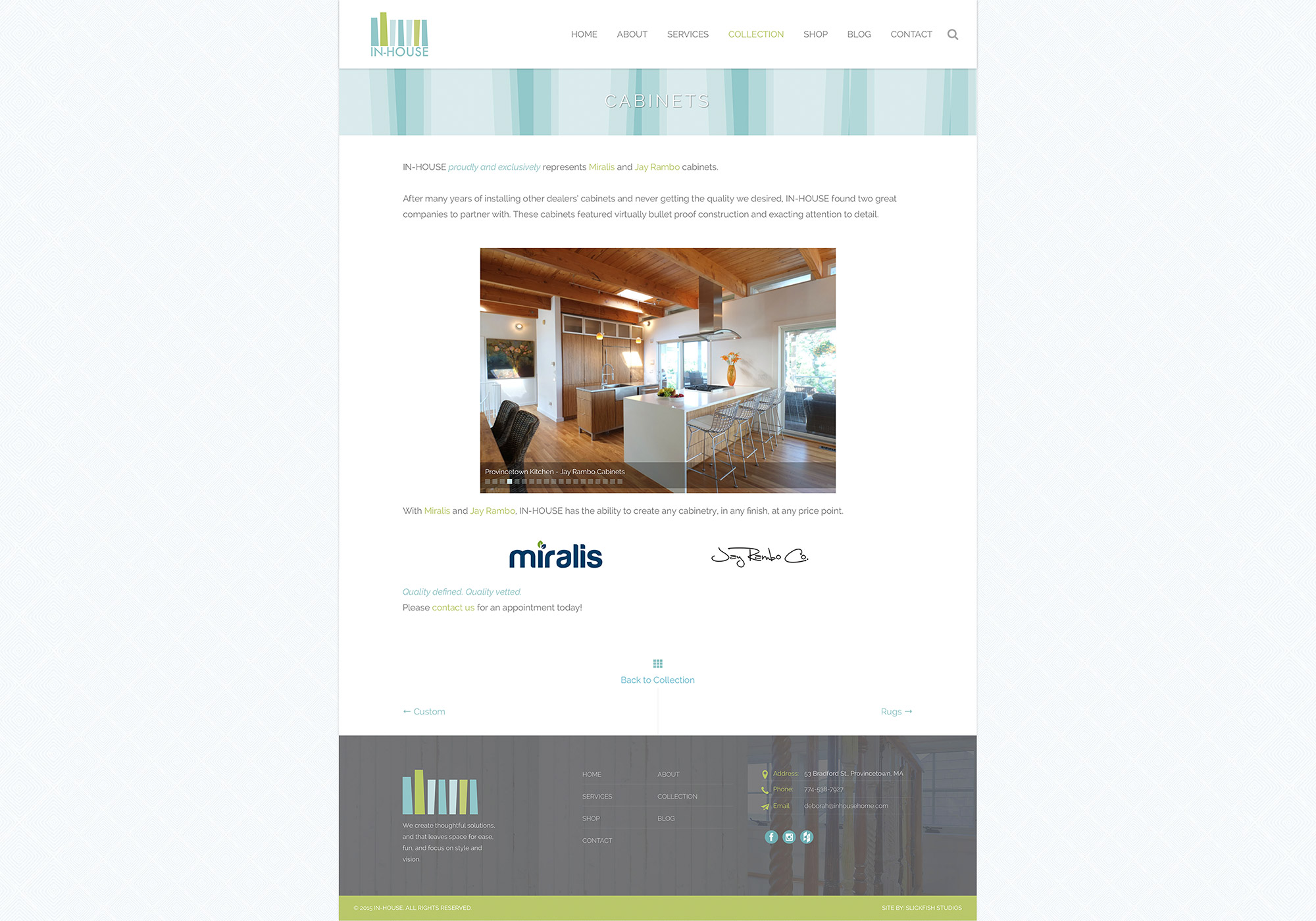 A screenshot of cabinets Collection slideshow and page on the In-House website designed by Maine web design company SlickFish.