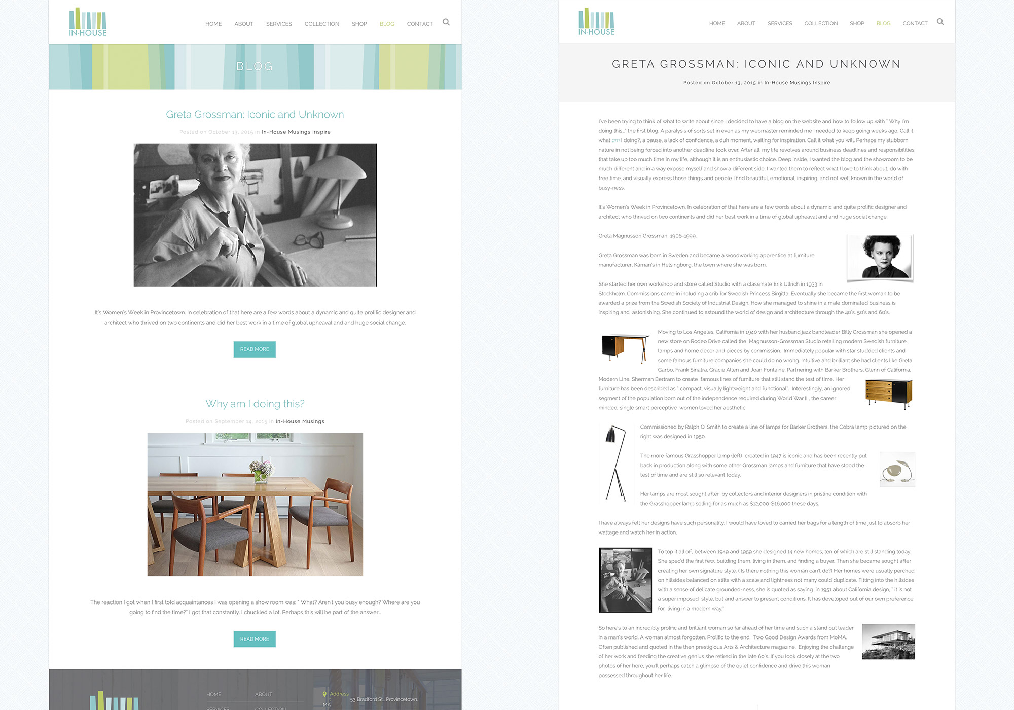 SlickFish Studios, a Portland, Maine web design company in the Old Port, developed a nice blog for Deb Paine at In-House to write about any of her favorite pieces, collections, and inspirations.