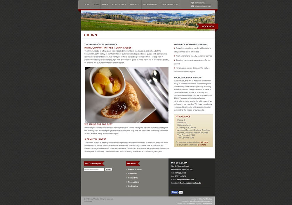 A Northern Maine Inn website by SlickFish Studios