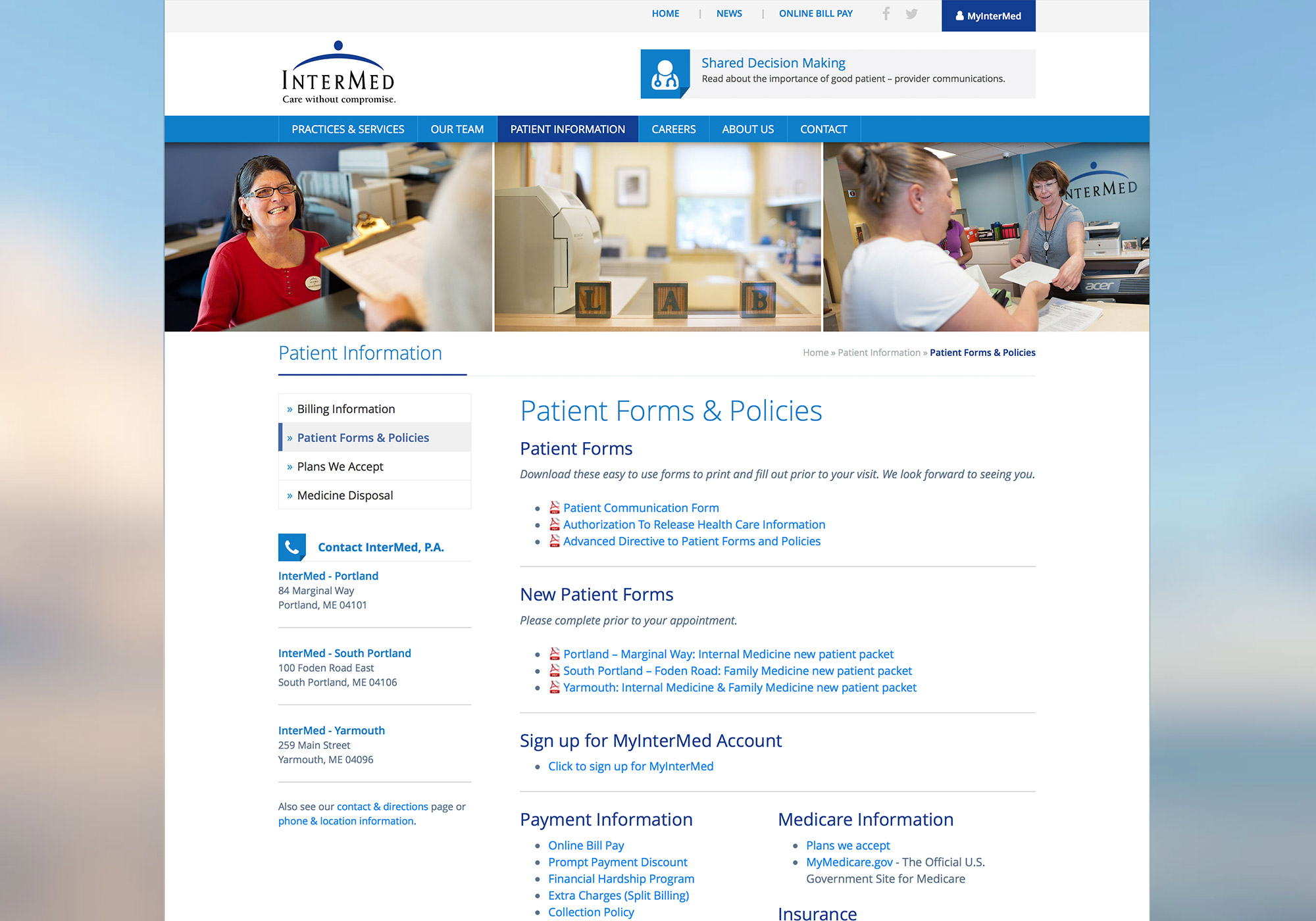 A new, custom, responsive website for the InterMed, in Portland, Maine by craft website design company SlickFish Studios, in the Old Port of Portland, Maine.