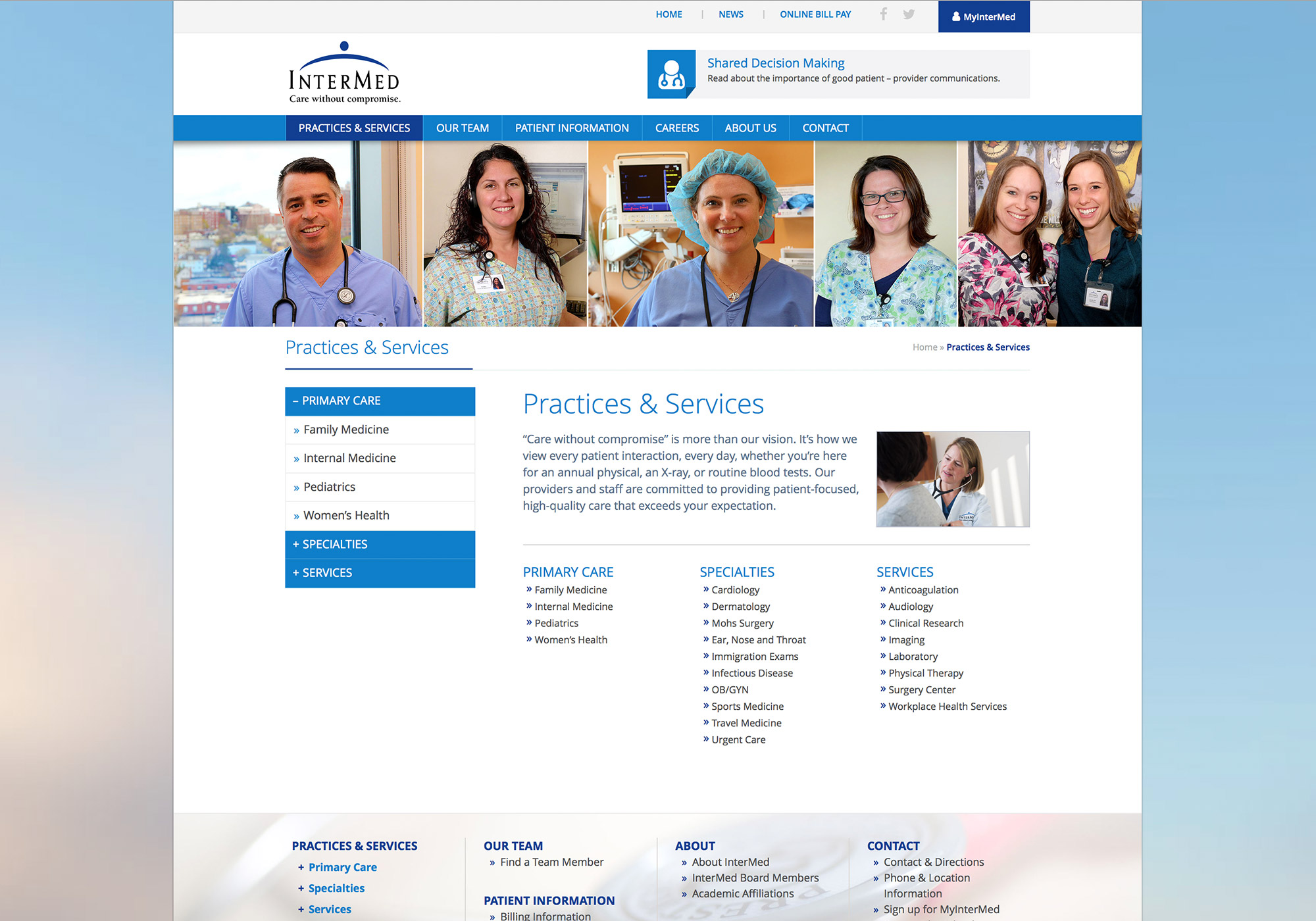 A screenshot of the Practices & Services page on the SlickFish website design for InterMed, P.A..