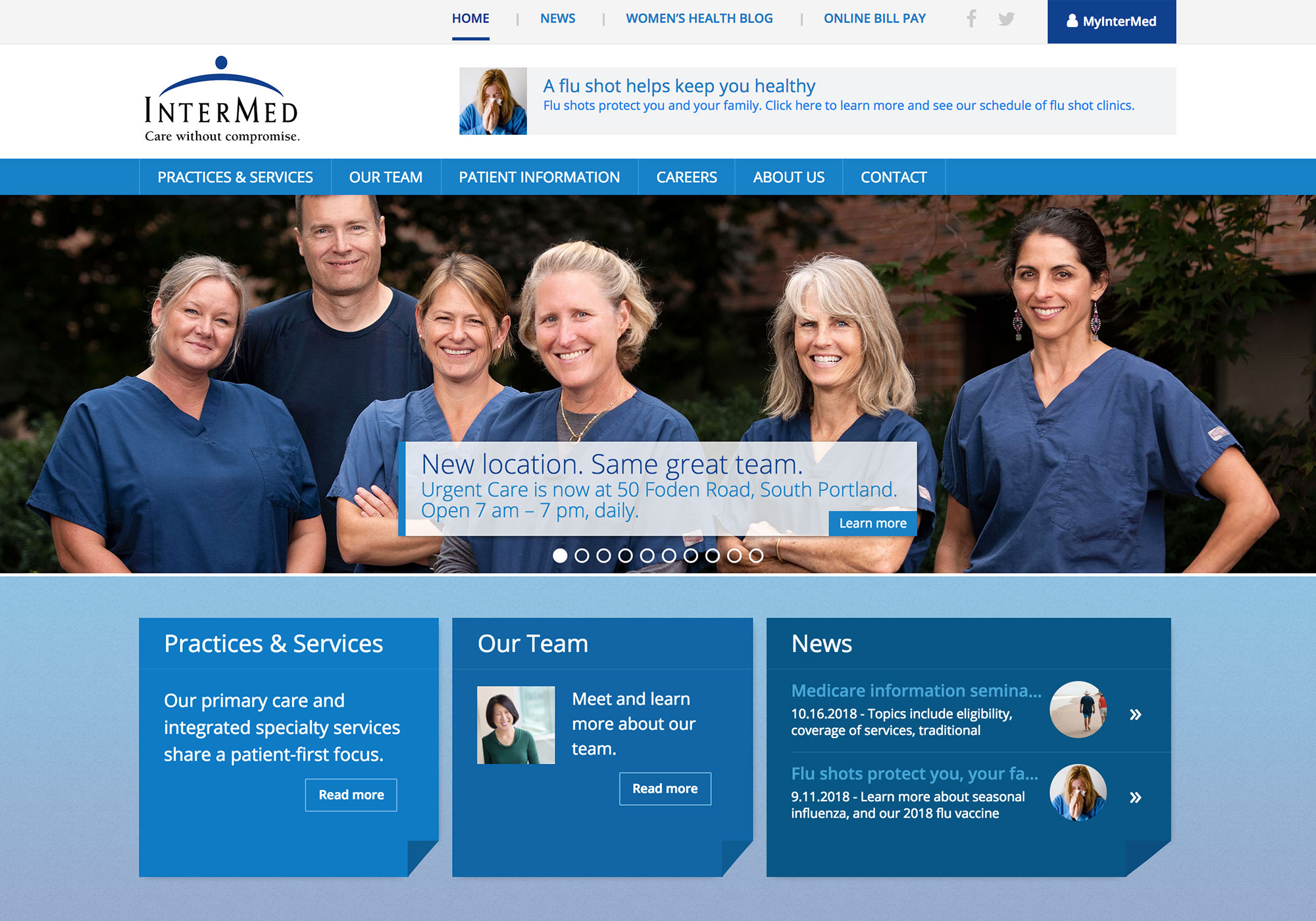 A screenshot of the homepage featuring the Urgent Care Team at InterMed. The website was designed and programmed by Maine creative website design company, SlickFish Studios