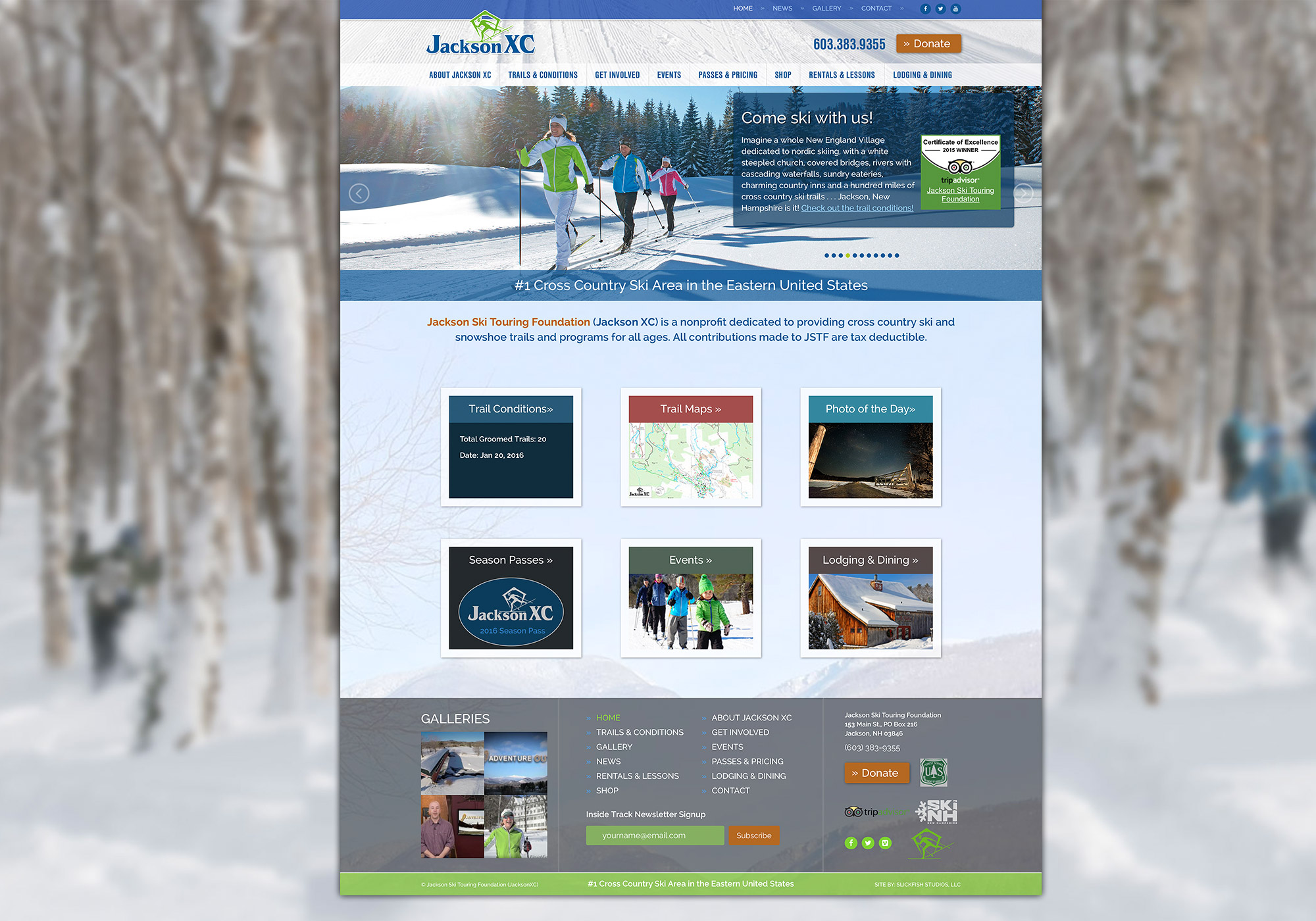 A screenshot crop of the SlickFish Studios designed homepage on the Jackson Ski Touring Foundation website.