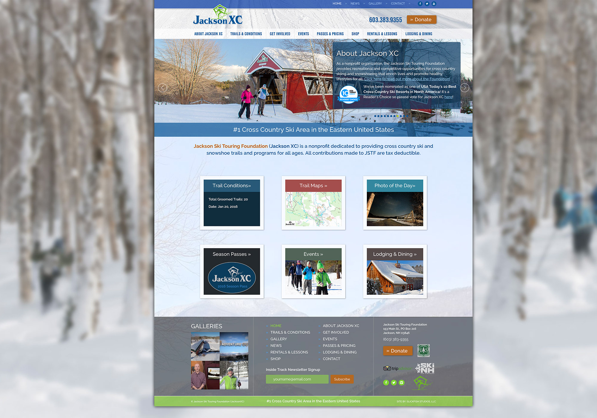 A closer look at the homepage of the Jackson XC website design by Portland company SlickFish Studios.
