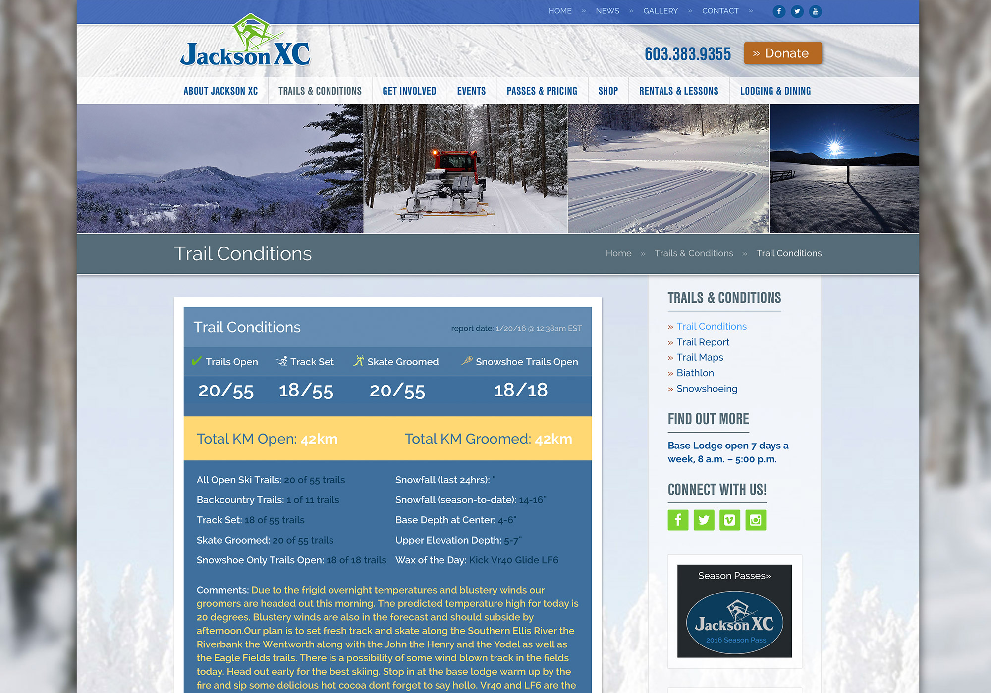A screenshot of the Trail Conditions page on the SlickFish designed website for Jackson Ski Touring Foundation.