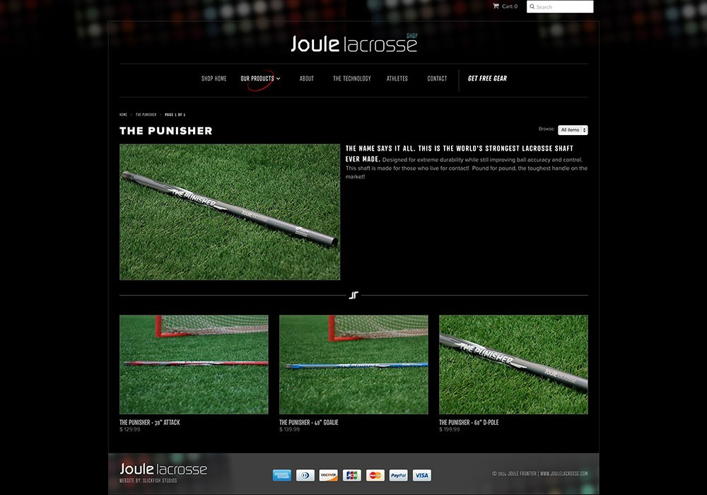 eCommerce shop for cool lacrosse handle company by SlickFish Studios