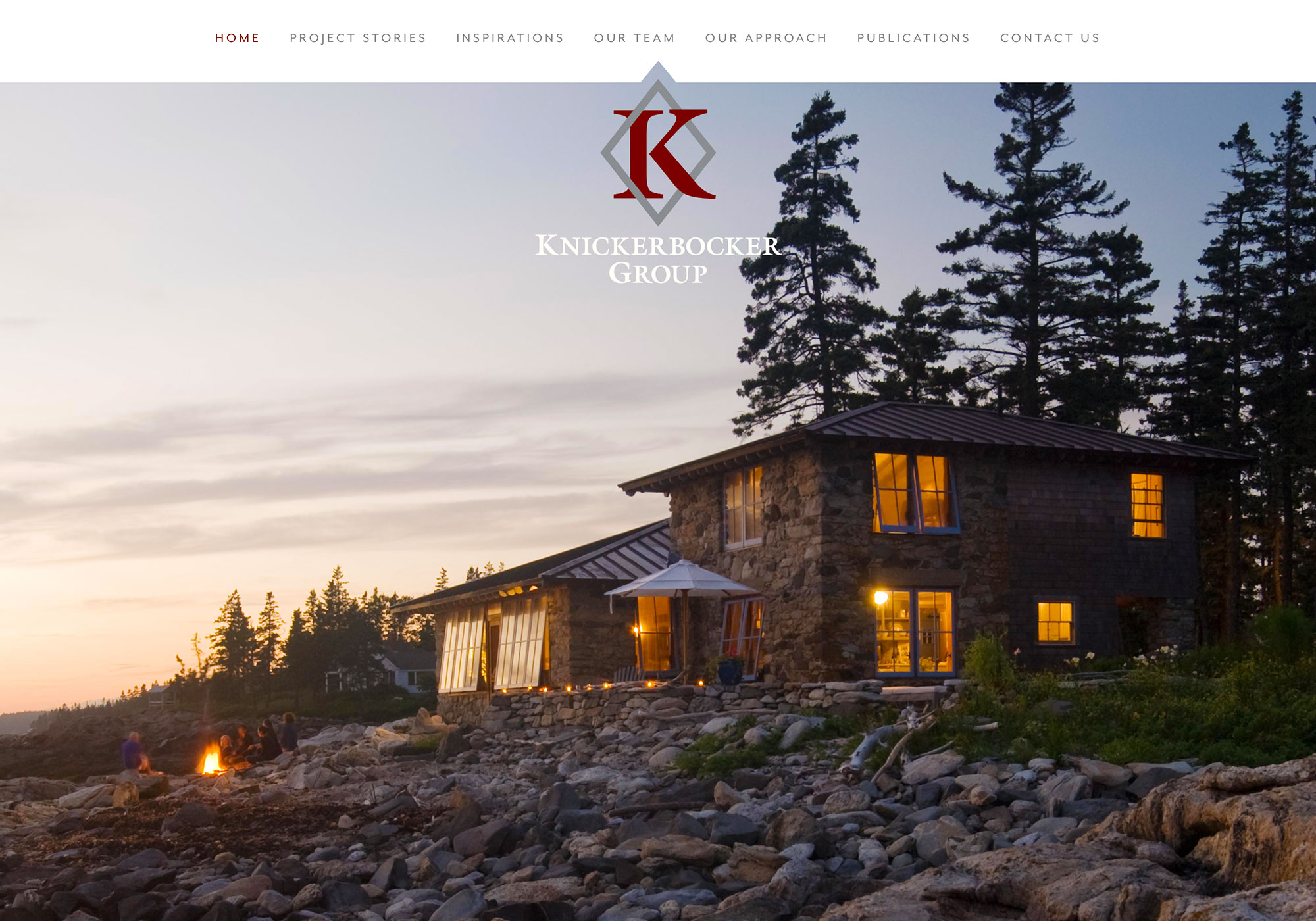 A screenshot of the SlickFish Studios designed and developed website for Knickerbocker Group.