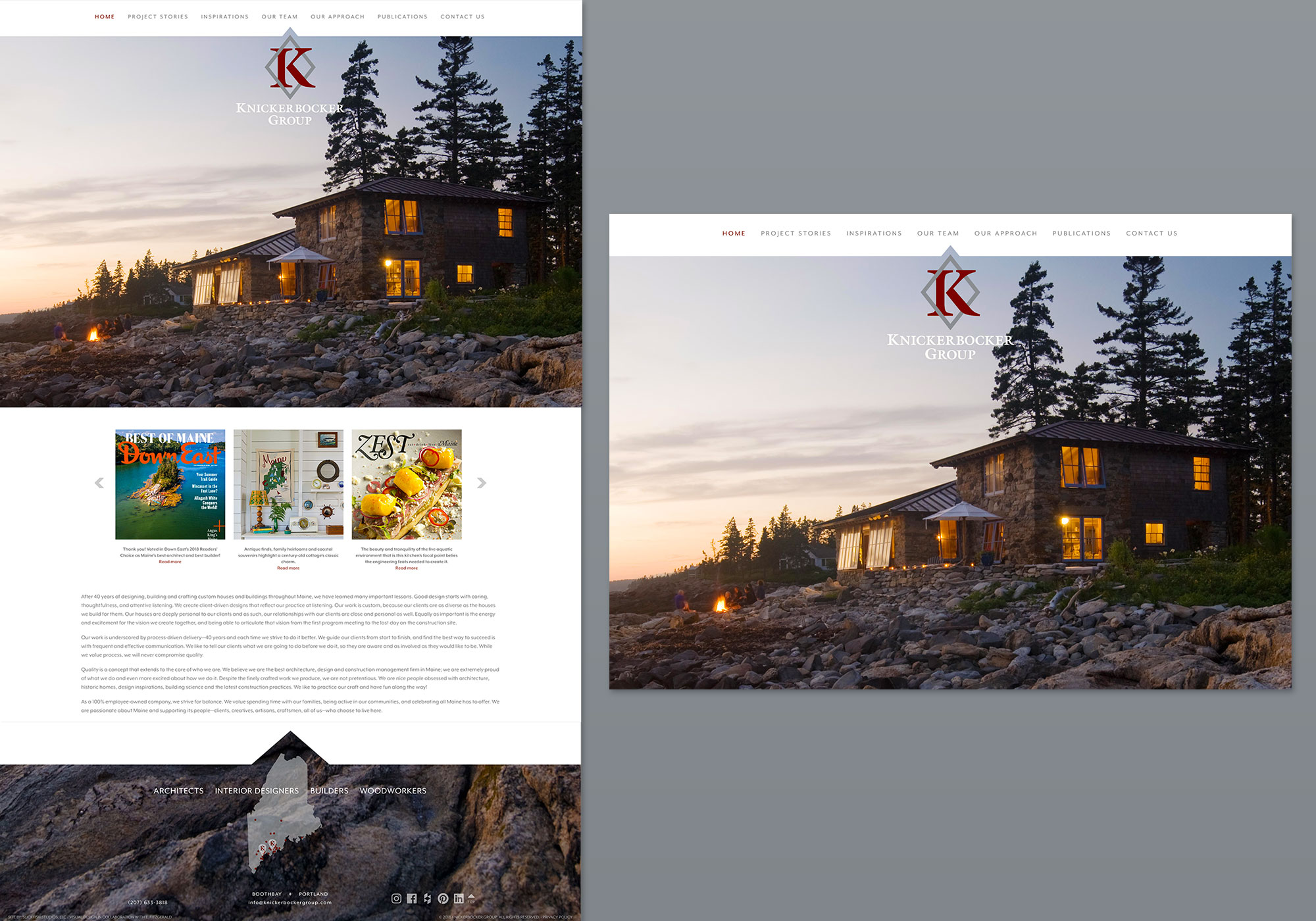 A full-size view of the homepage for Knickerbocker Group designed by SlickFish Studios in Portland, Maine.