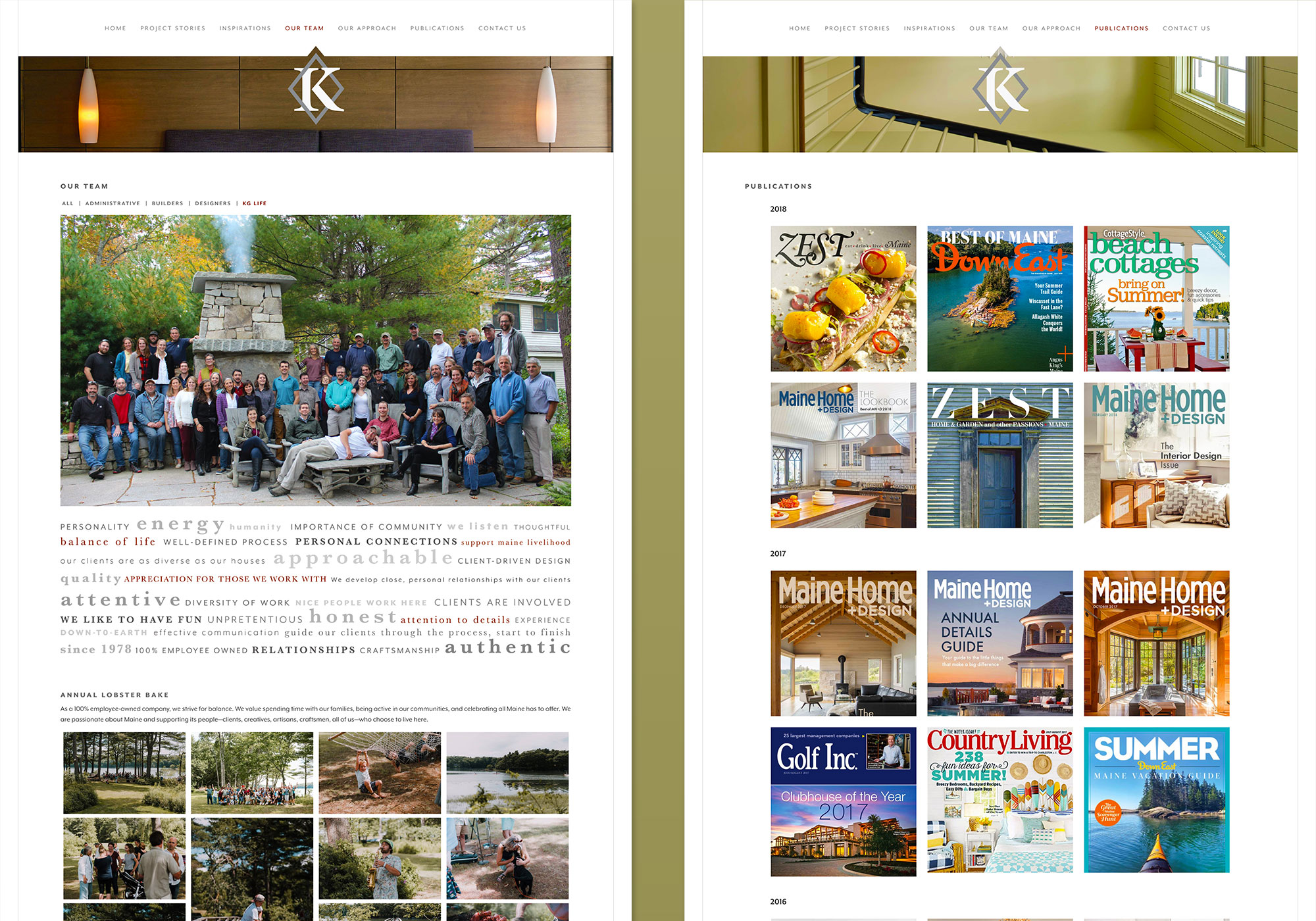 KG Life Blog and Publications. Two scalable sections of the website for Knickerbocker Group by SlickFish Studios, a custom website design company in Portland, Maine.