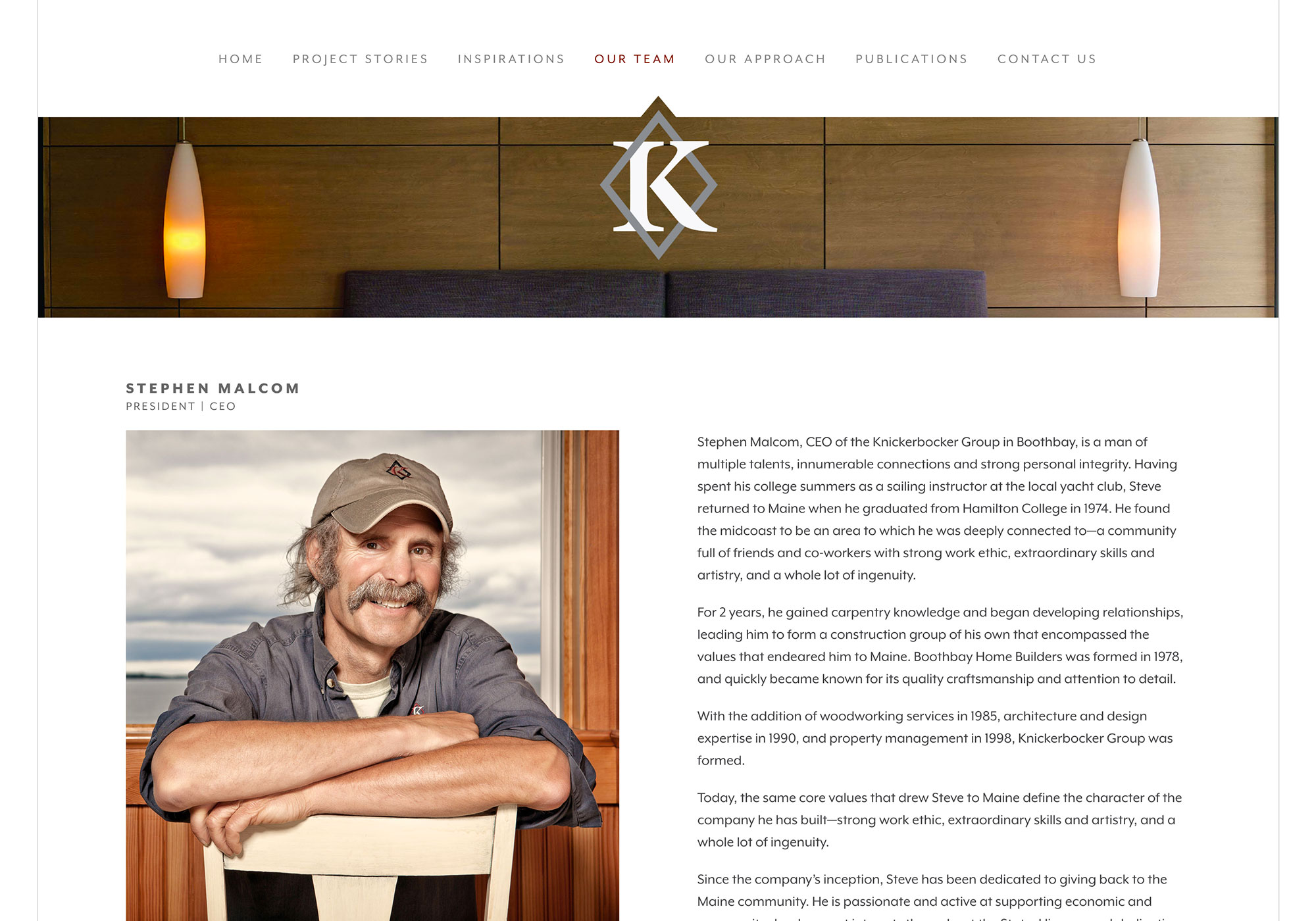 A single bio page screenshot of Steve Malcom. Owner and builder for Knickerbocker Group. Website design consult and programming by SlickFish Studios of Portland, Maine.