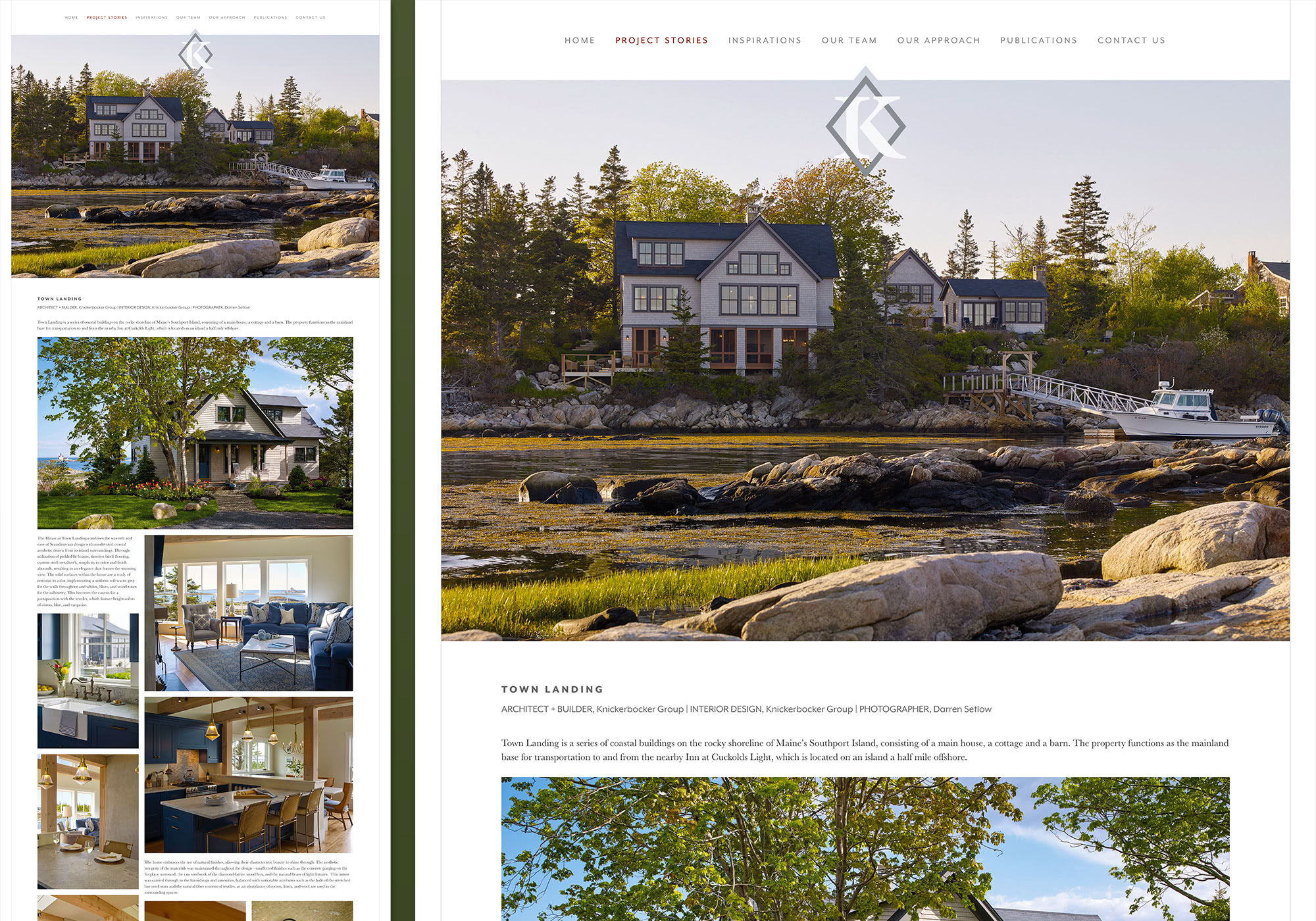 A screenshot from the Knickerbocker Group website showing an example of a project story called Town Landing. Designed and developed by Maine website design company, SlickFish Studios