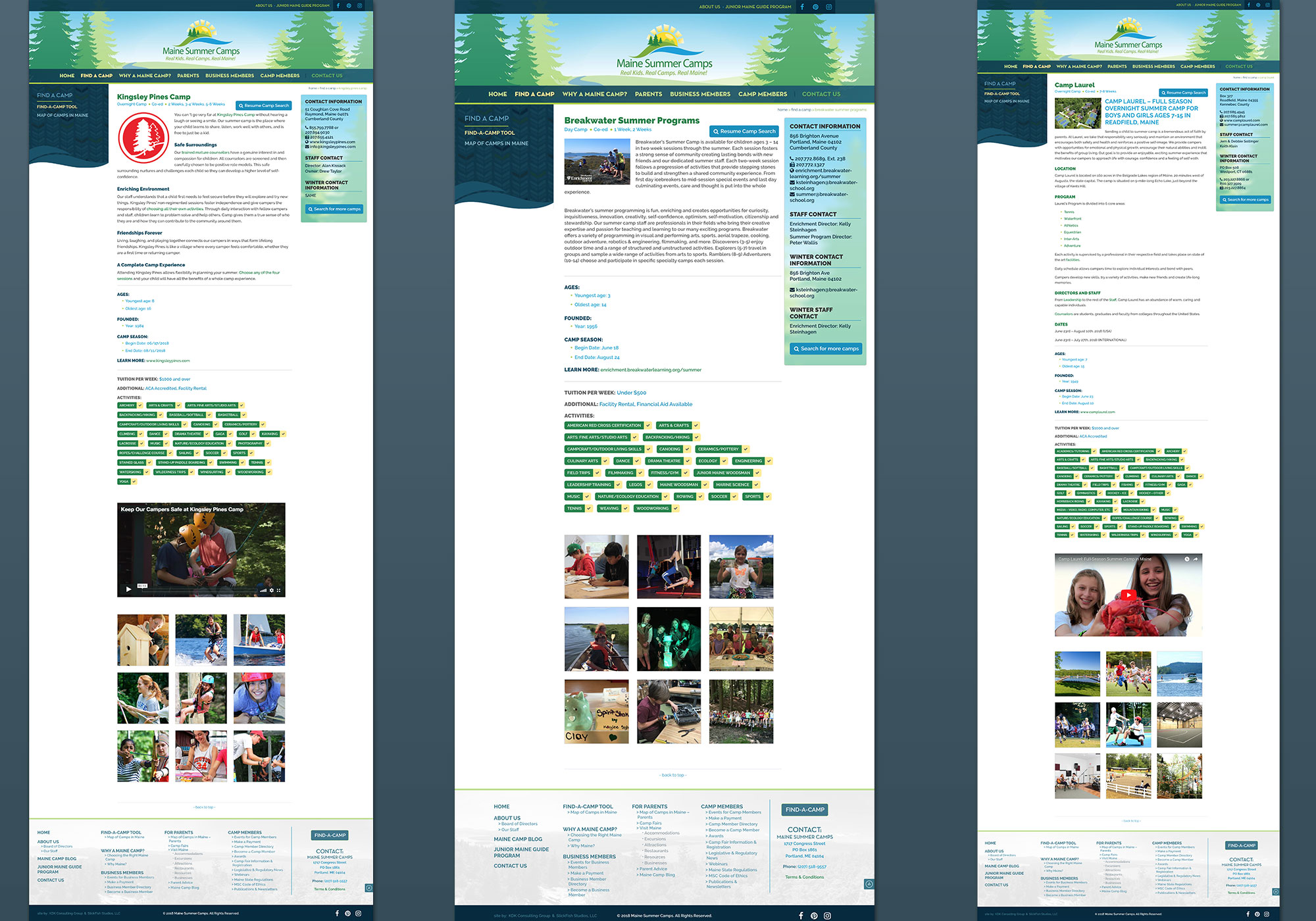 Three side by side screenshots of individual camp pages showing videos, and activities and overview information for each Maine Camp. Custom wordpress website design for Maine Camps by Portland, Maine website design company, SlickFish Studios.