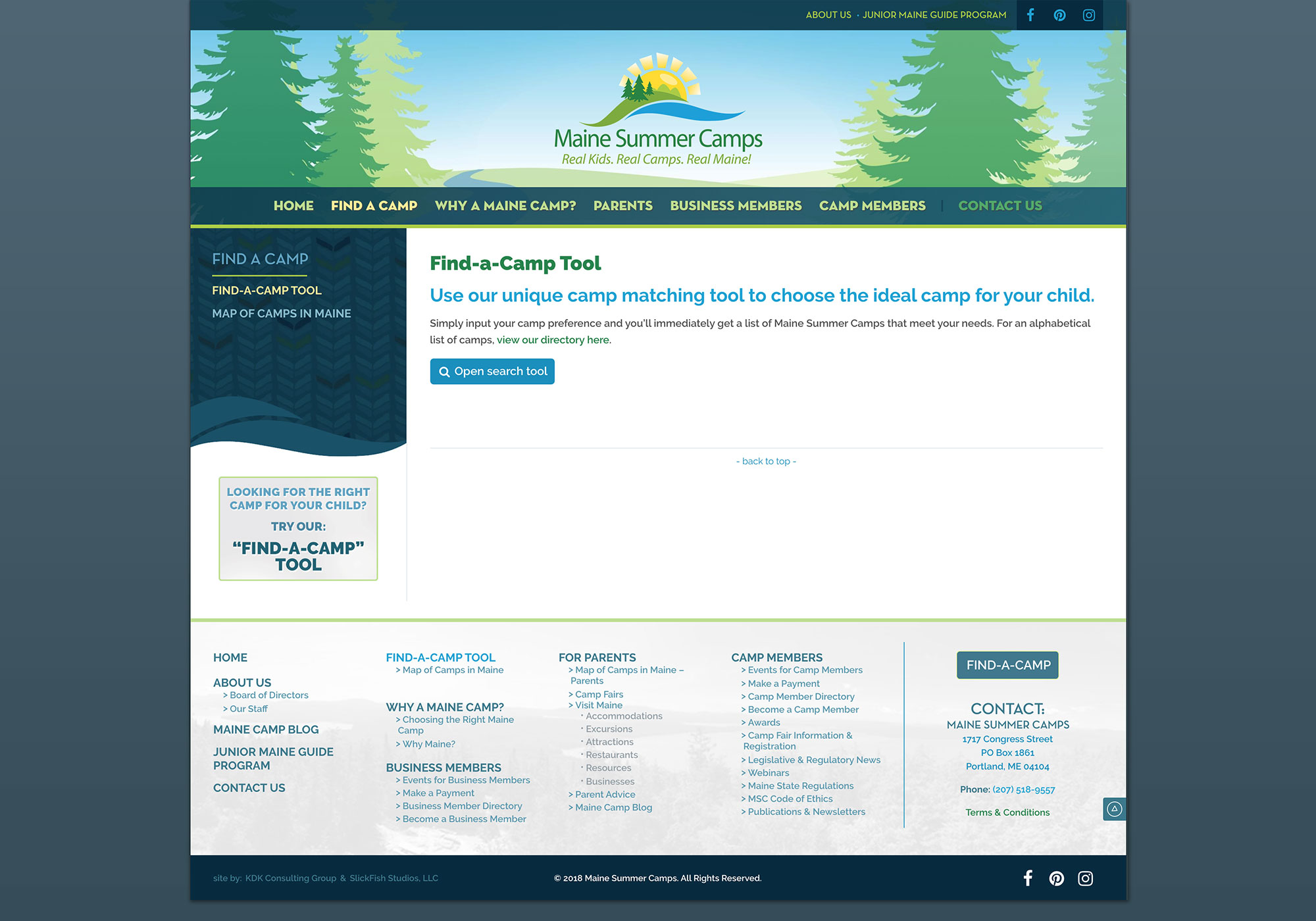 A screenshots from the Maine Summer Camps website showing the landing page of the find-a-camp tool we built. Designed and developed by Maine website design company, SlickFish Studios