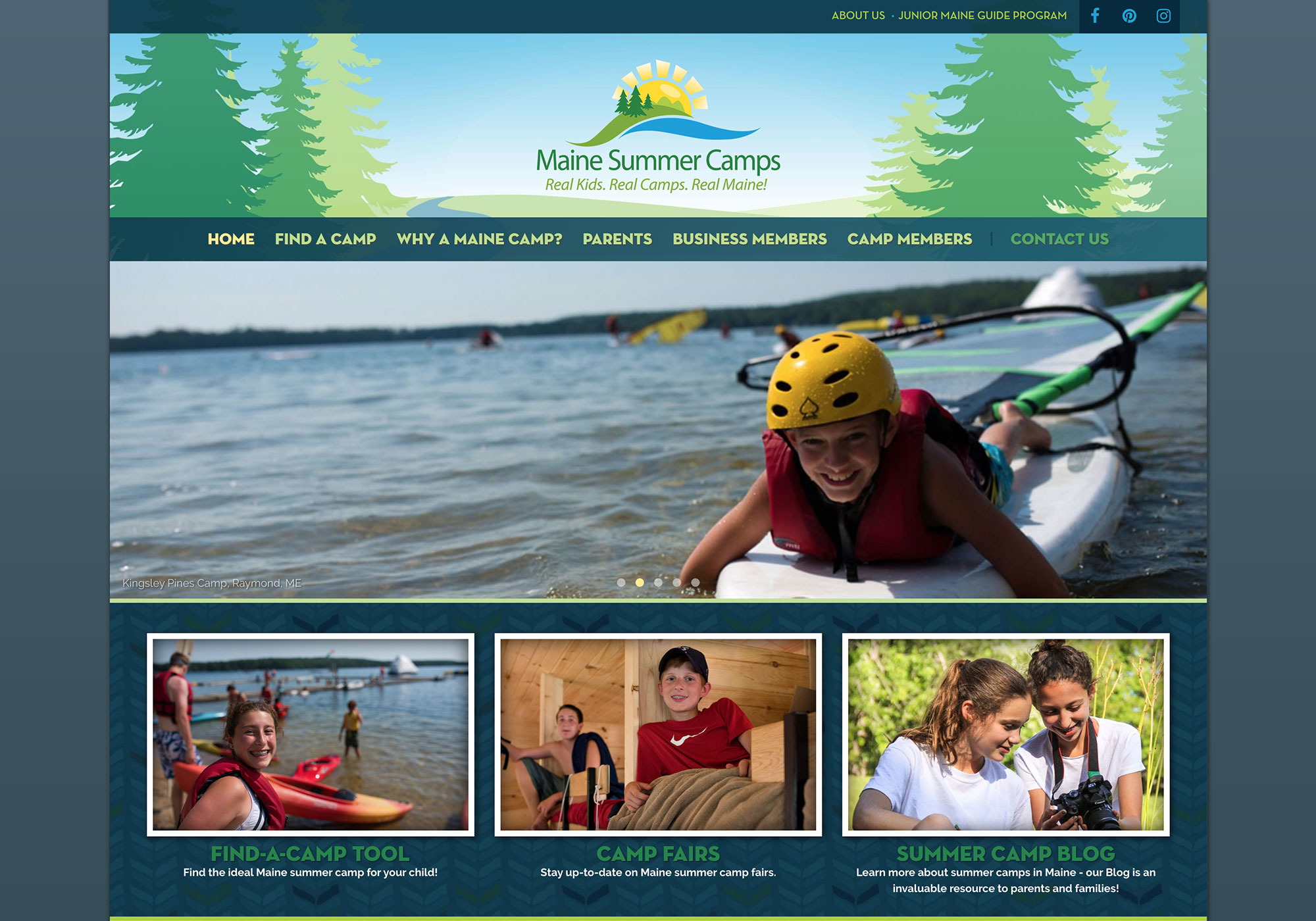 A screenshot of the SlickFish Studios designed and developed website for Maine Summer Camps.
