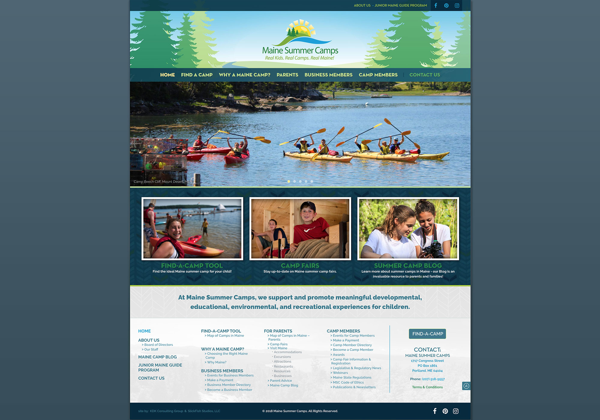 A full-size view of the homepage for Maine Camps designed by SlickFish Studios in Portland, Maine.