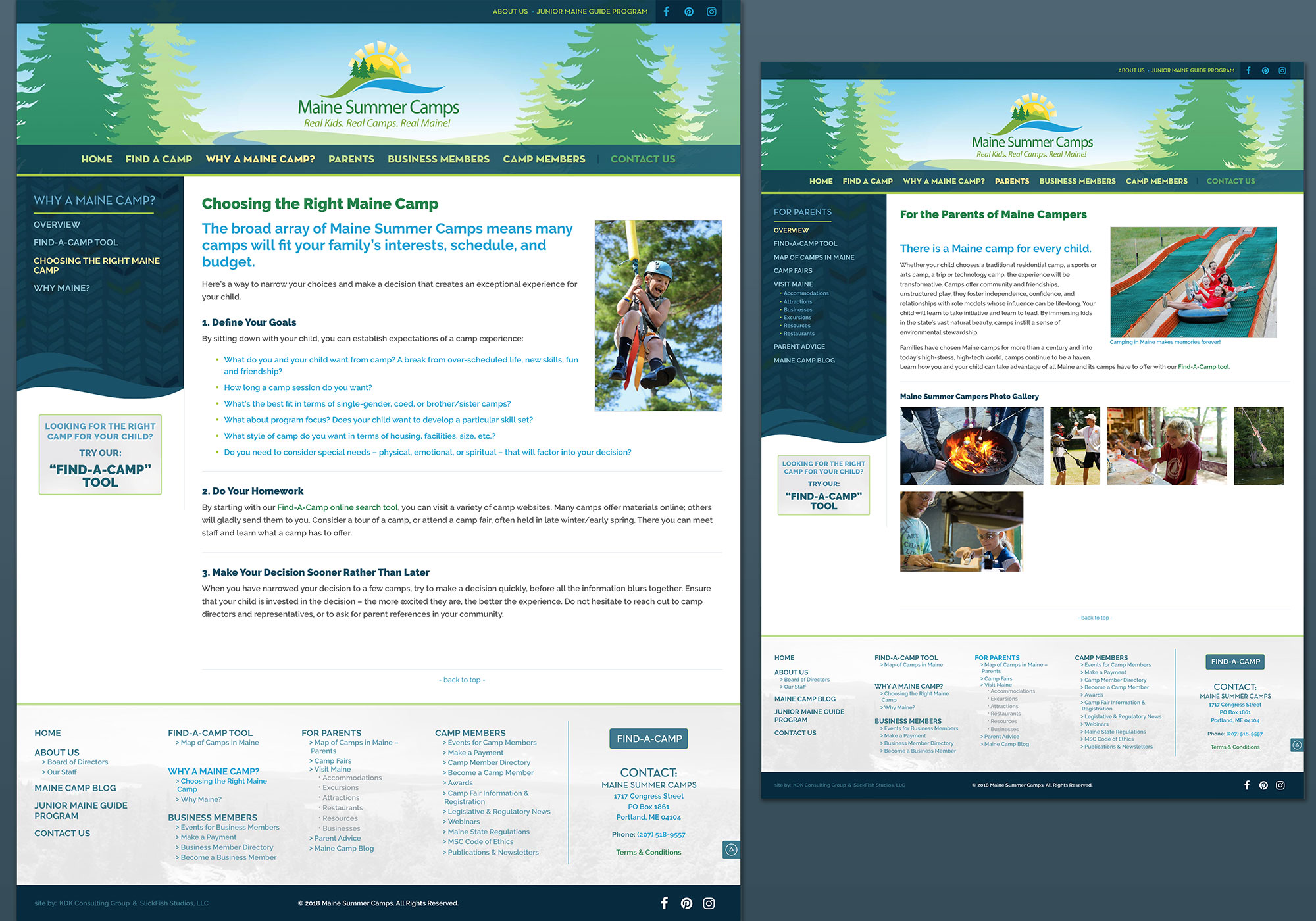 A composite of the landing page for Parents, and Choosing the right Summer Camp from the new Maine Camps website. Designed by SlickFish Studios.