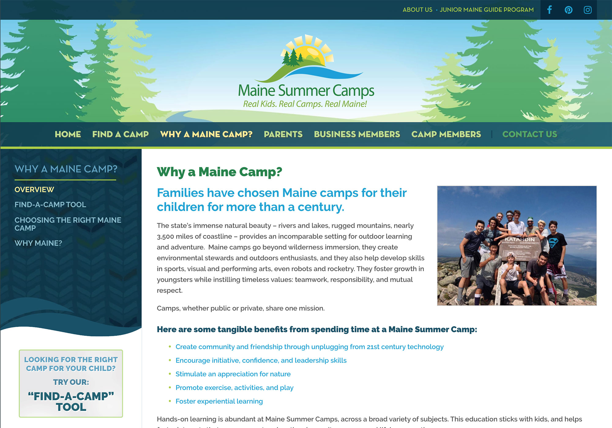 A screenshot of the Why a Maine camp page to help inform users in clean and bright website design. Find out more on the new Maine Camps website designed and programmed by Maine design company, SlickFish Studios.