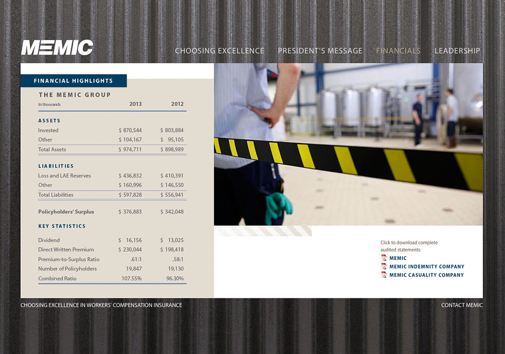 MEMIC's Interactive, Online Annual Report by A Maine Website Company called SlickFish
