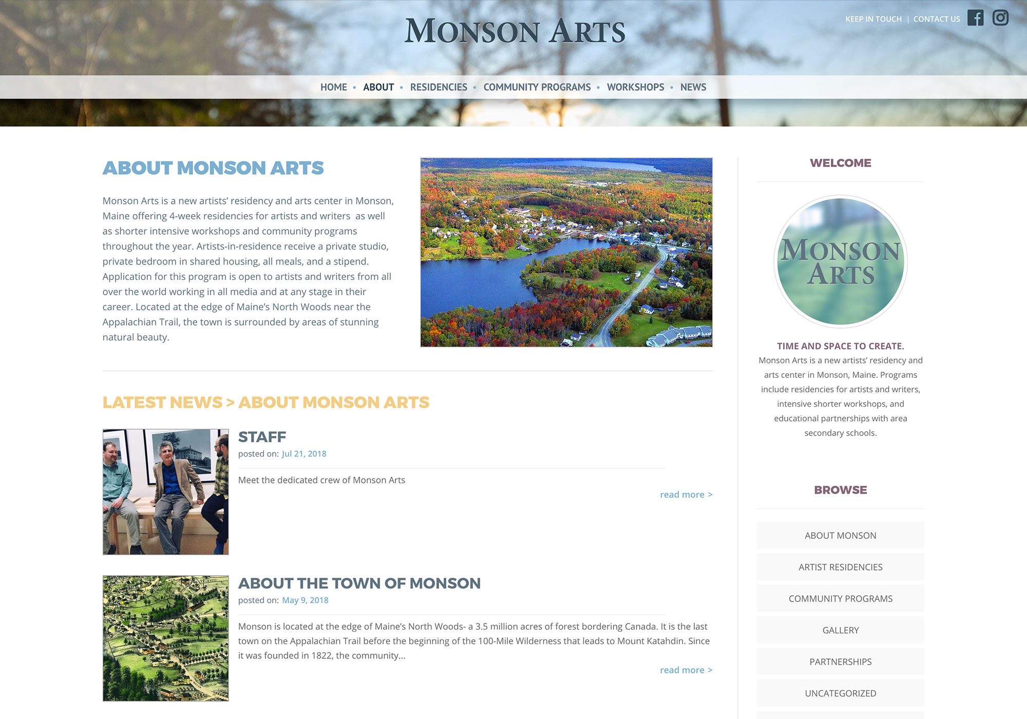 SlickFish Studios from Portland, Maine built a website for a great Artist Residency and Arts Center in rural Monson, Maine.