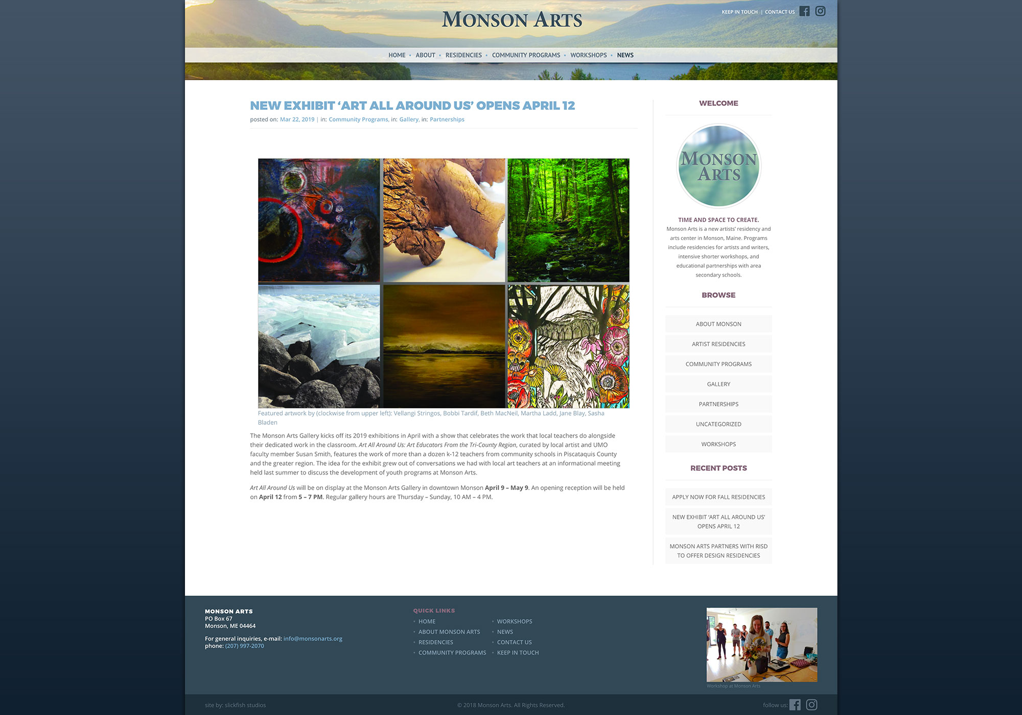 A creative Maine Website Design for a non-profit arts center in Monson.